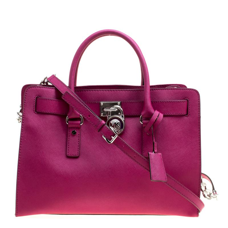 7d34728a9225 MICHAEL Michael Kors - Pink Magenta Leather East West Hamilton Top Handle  Bag - Lyst