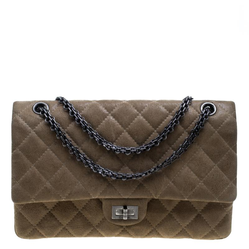524d8184a3463b Chanel Beige Quilted Glazed Suede Reissue 2.55 Classic 226 Flap Bag ...