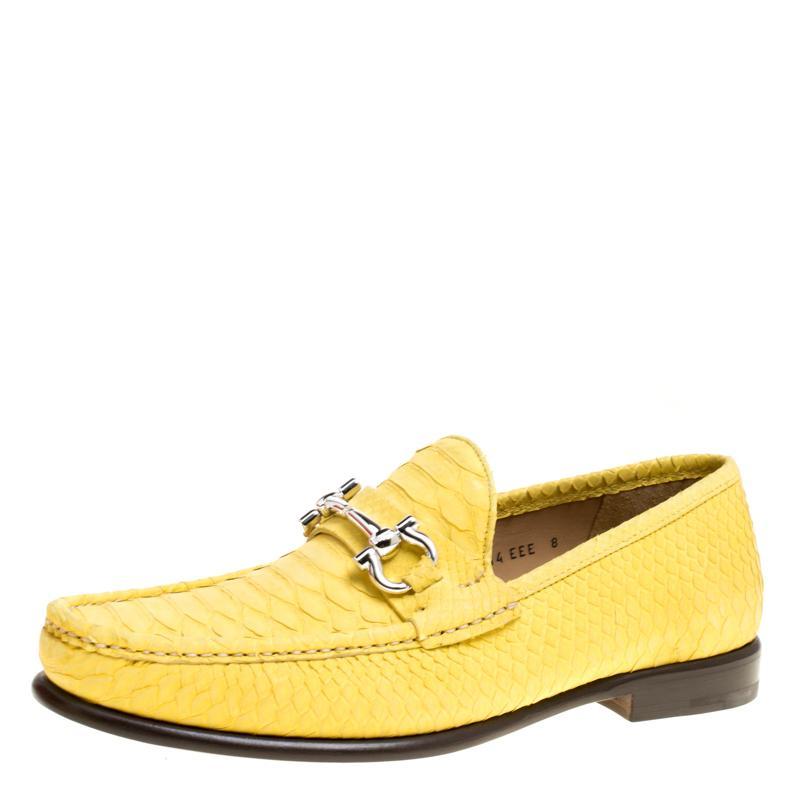 9388e3f7299df Ferragamo Yellow Python Mason Loafers Size 41 in Yellow for Men ...