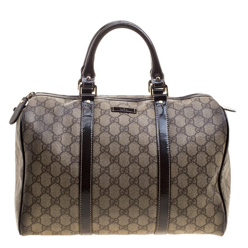 7f8ab71de Gucci /brown Gg Supreme Canvas And Leather Medium Joy Boston Bag in ...