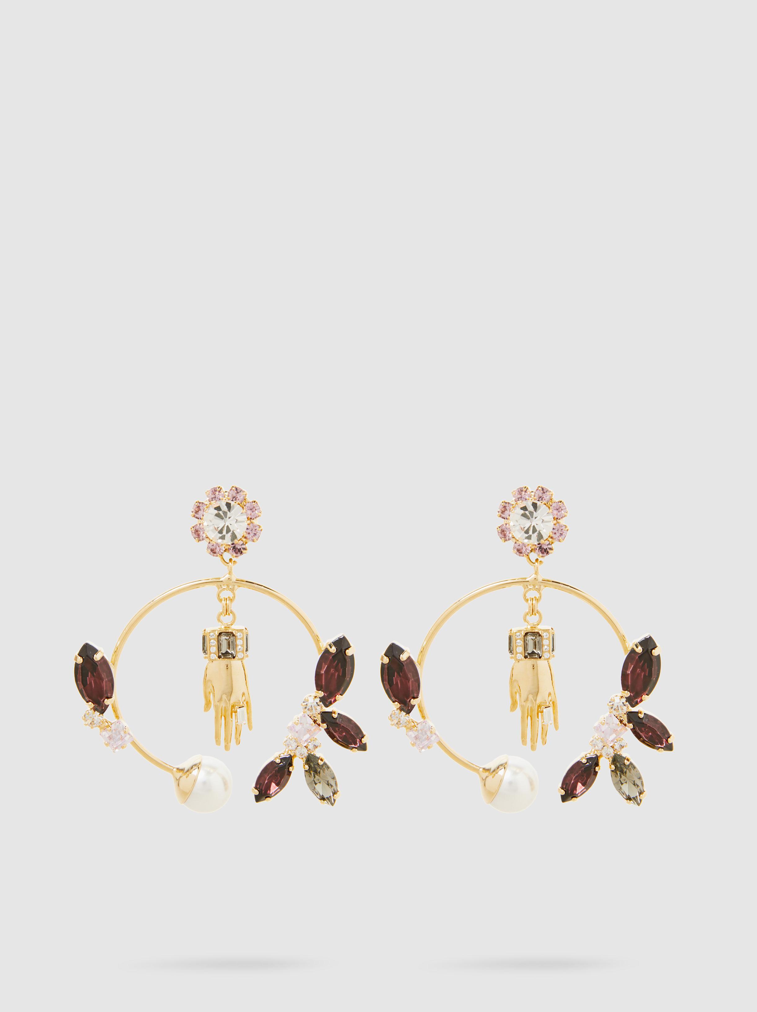 Erdem Bee Crystal and Faux Pearl Clip Earrings aoBV3GOFU1