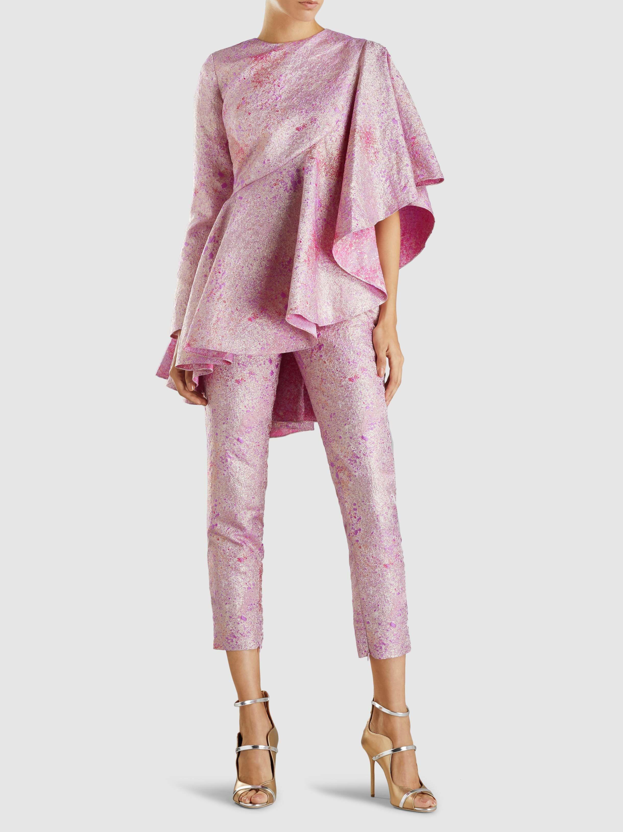 4c90fa2550 SemSem - Pink Camille Brocade Metallic Cigarette Pants - Lyst. View  fullscreen
