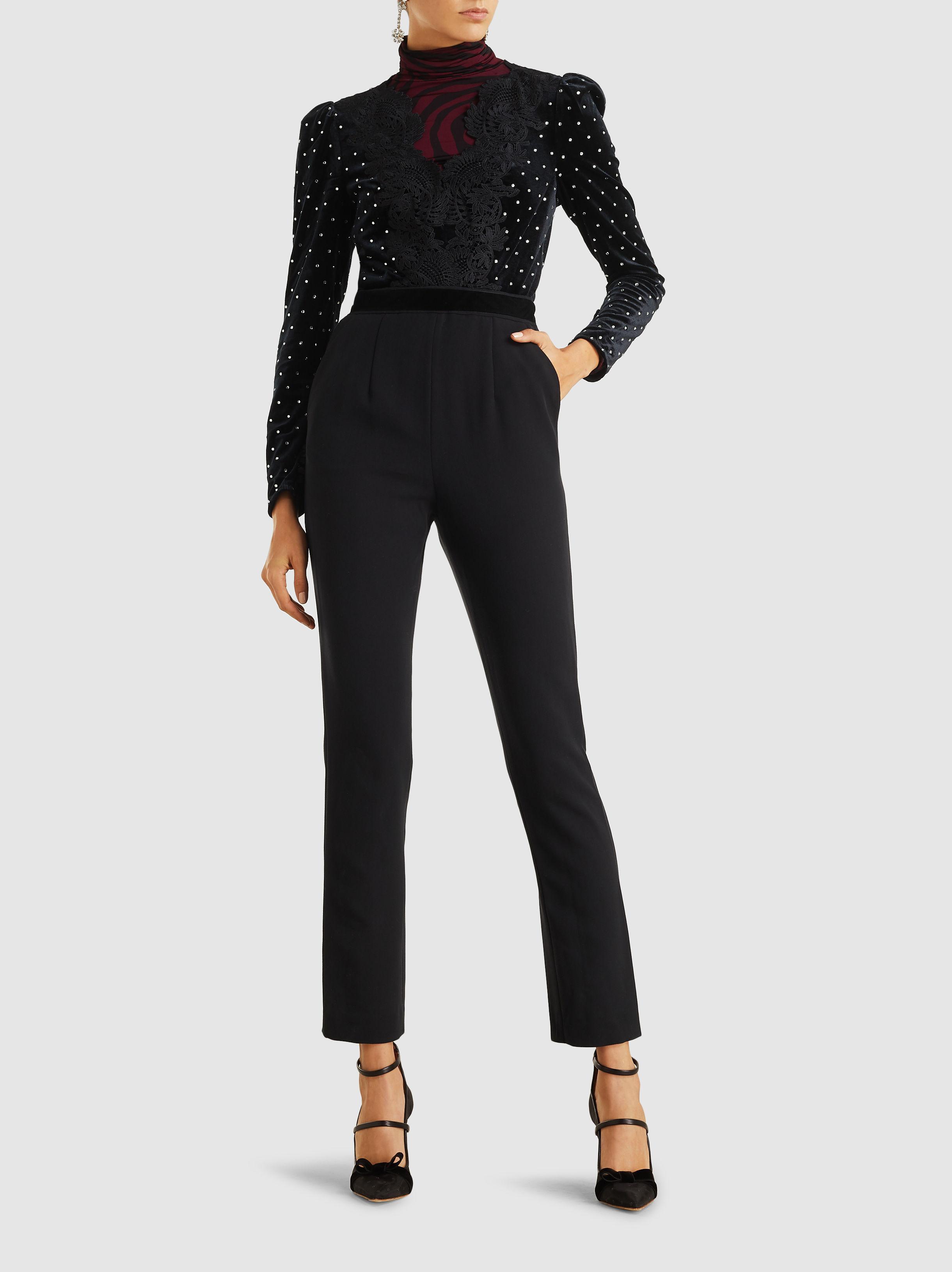 e081e35a08 Lyst - Self-Portrait Lace Trimmed Embellished Jumpsuit in Black ...