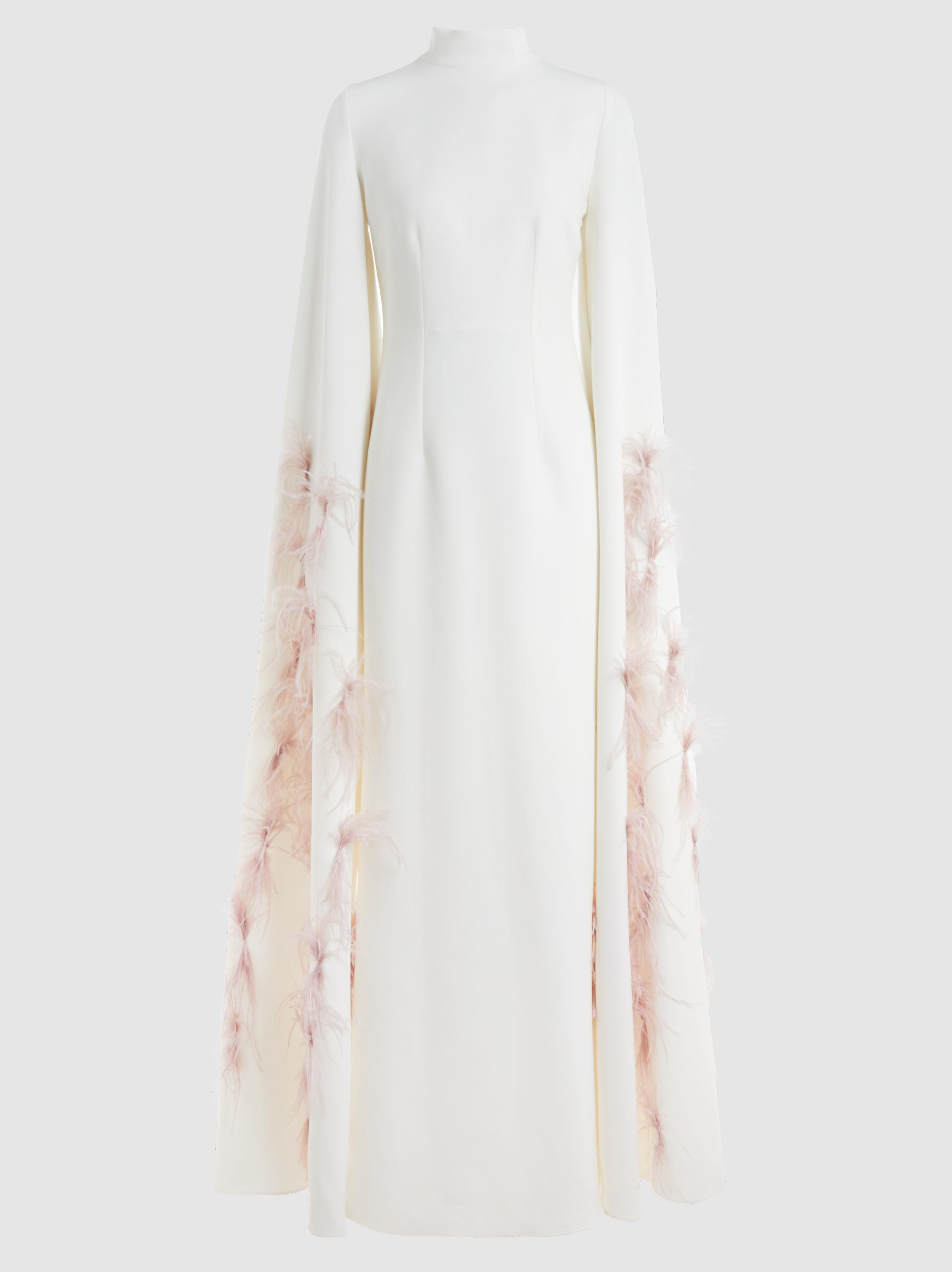 Lyst - Safiyaa Embellished High Neck Cape Gown in White