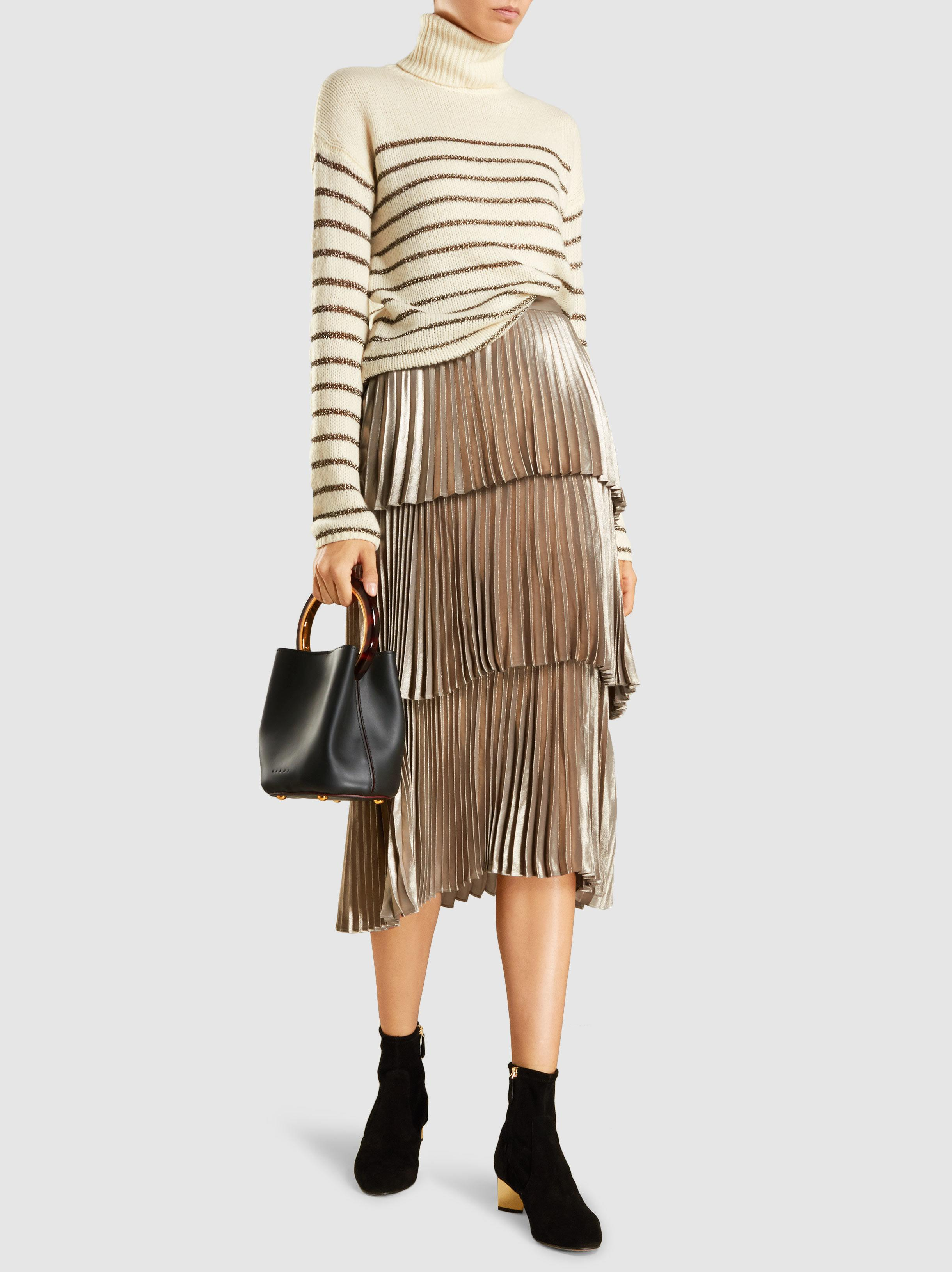 Buy Cheap Recommend Harley Tiered Metallic Satin Midi Skirt A.L.C. Sneakernews Shop Offer Cheap Online Great Deals Online TJ2UJvHLH