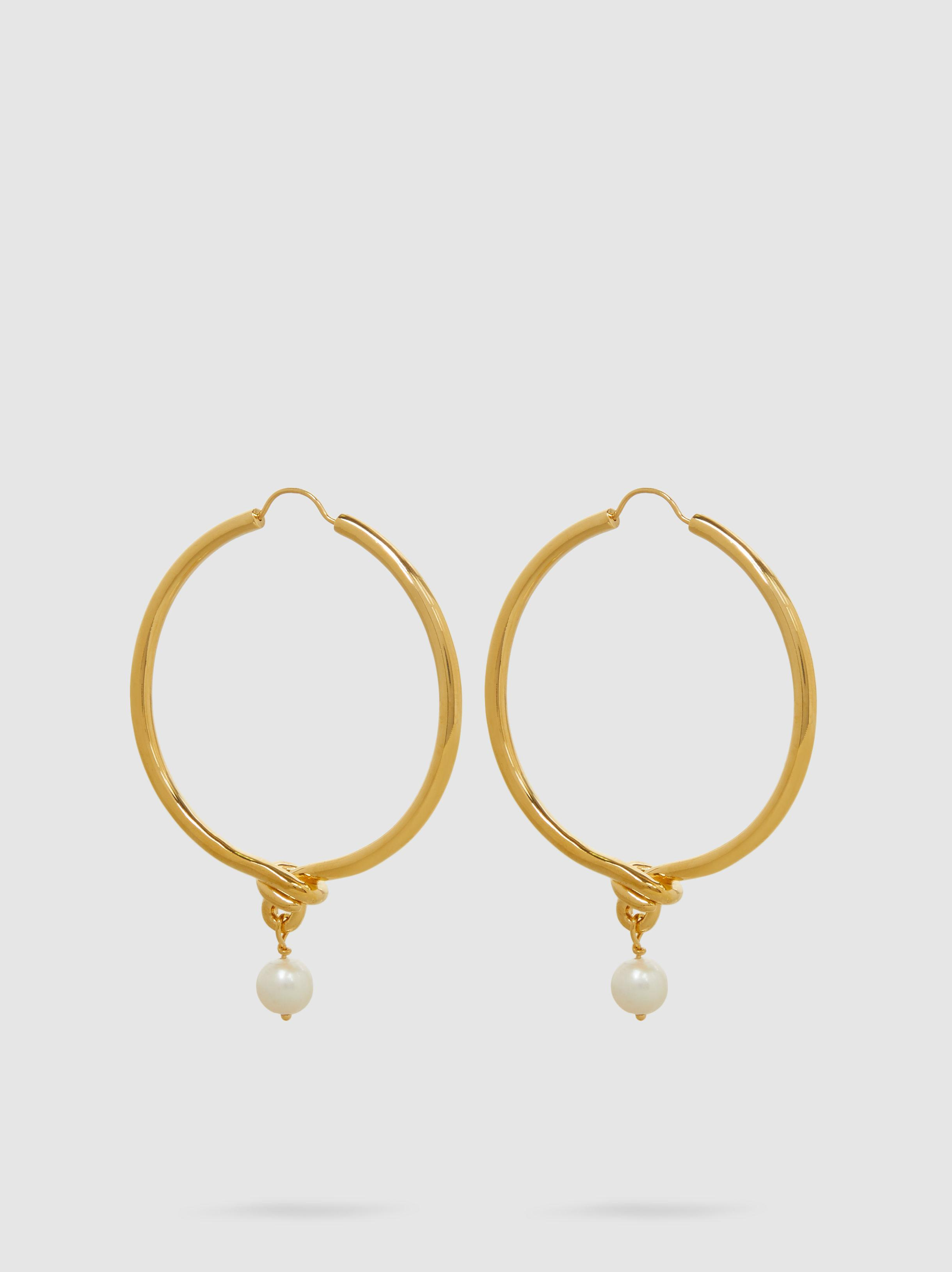 Eye M By Ileana Makri Gold-Plated Knot Hoop Earrings With Faux Pearl afR2OXc