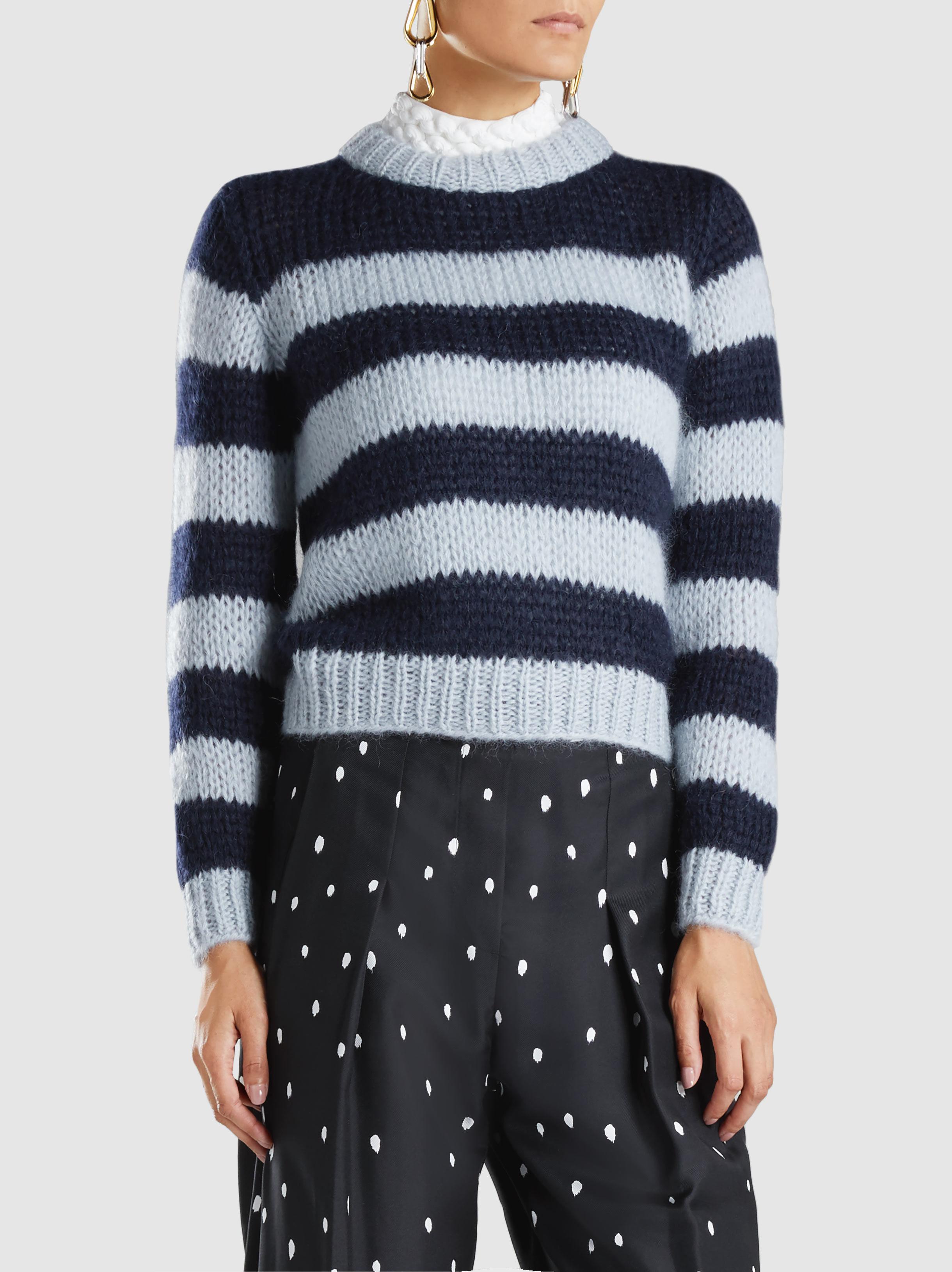 7707bfcfbd9b7 Lyst - Ganni Faucher Striped Mohair And Wool-blend Sweater in Blue
