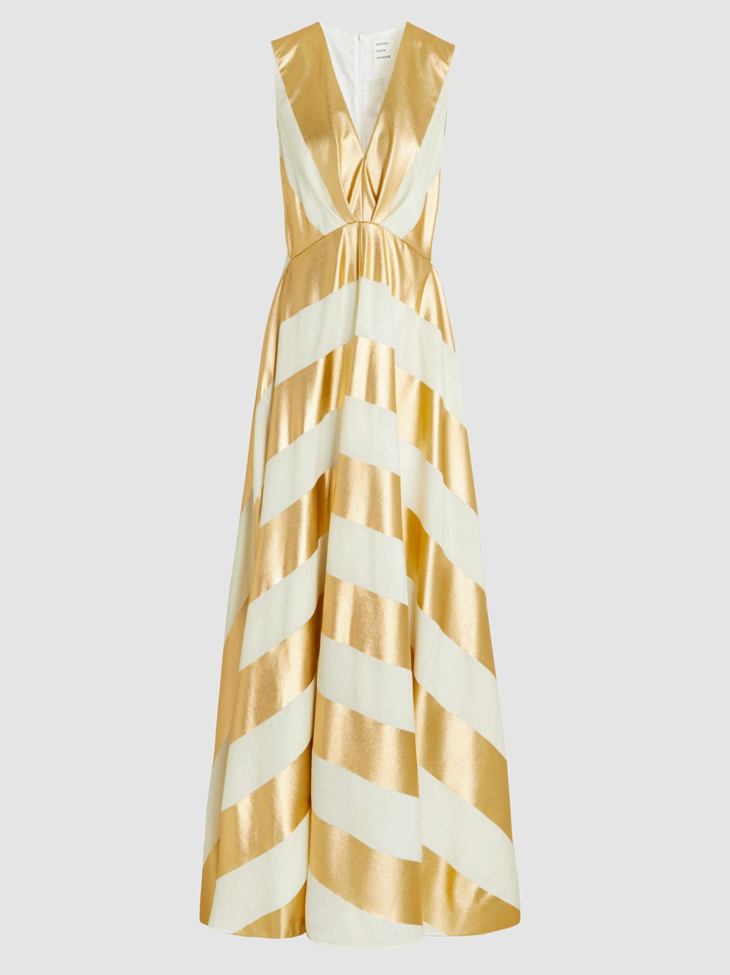 Discount Shop Offer Free Shipping Supply Metallic Striped Sleeveless Gown Maison Rabih Kayrouz Very Cheap Cheapest Cheap Price Free Shipping 2018 38W5uktso