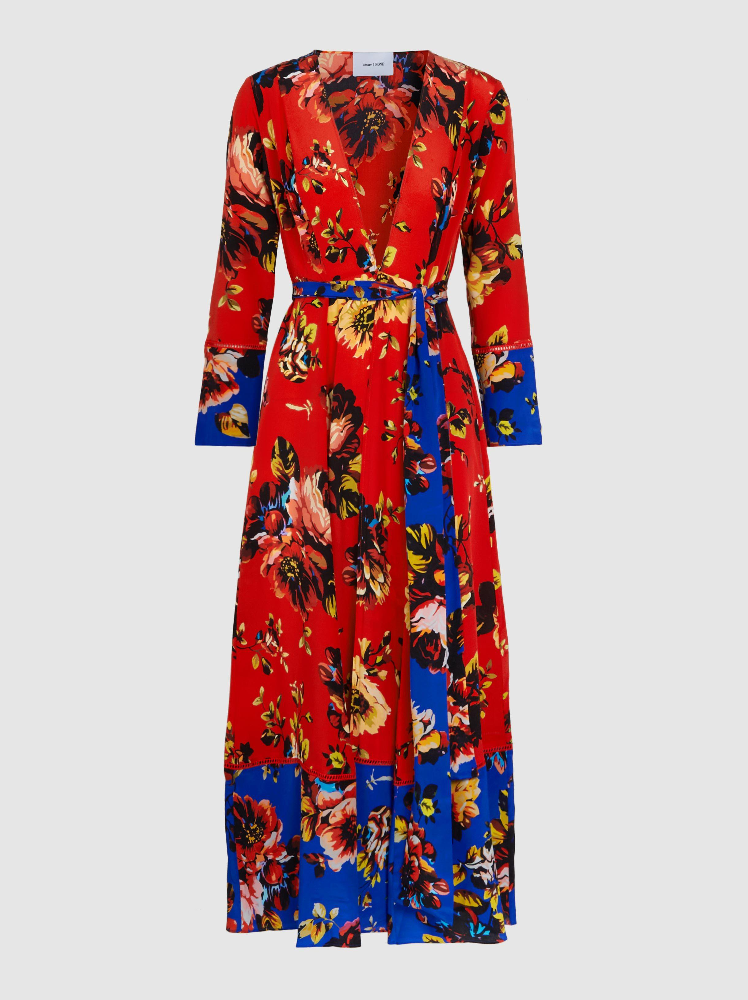 Lyst We Are Leone Floral Print Silk Robe In Red