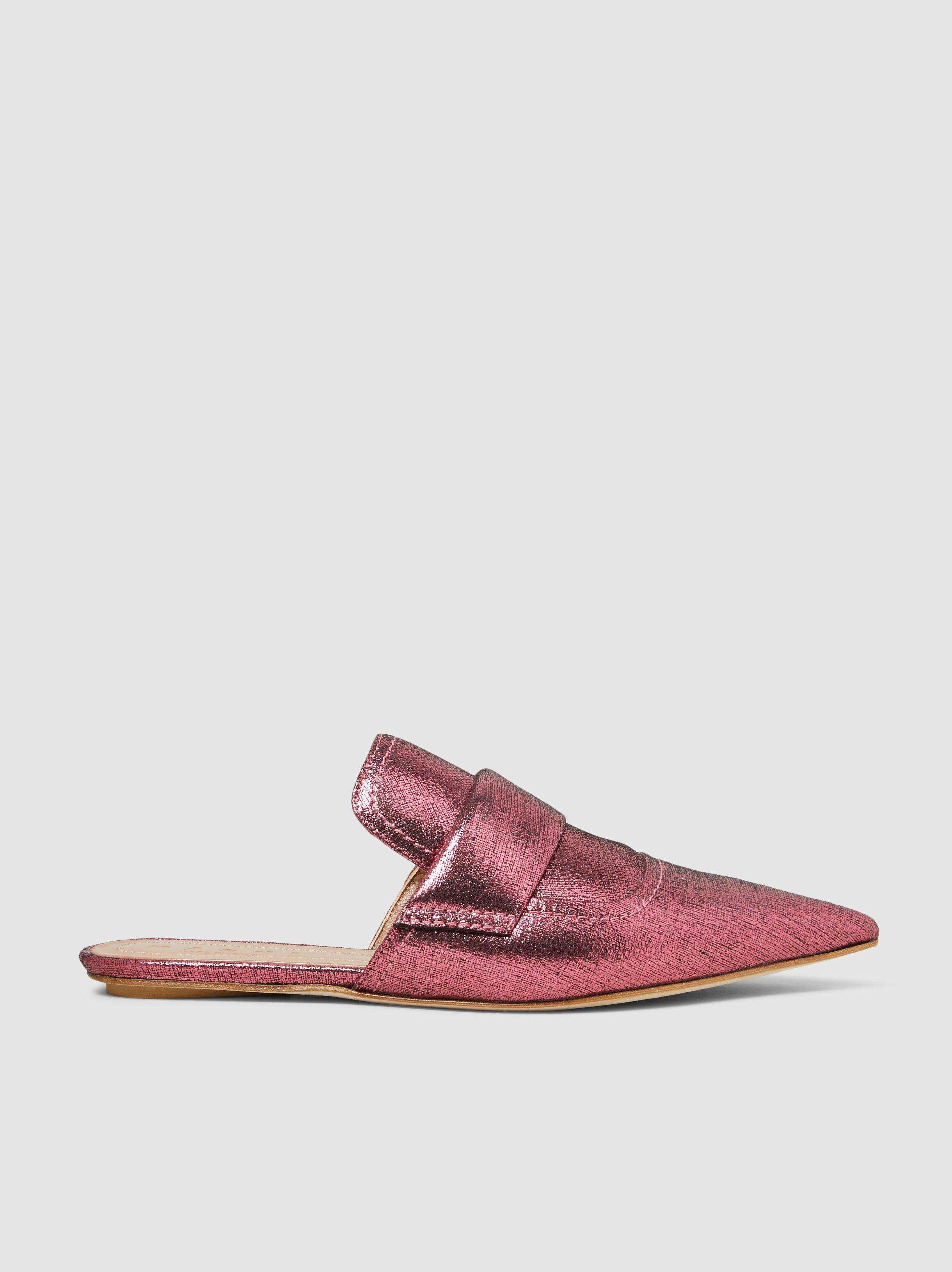 Marni Burnished Metallic Leather Loafer Slippers GpujM