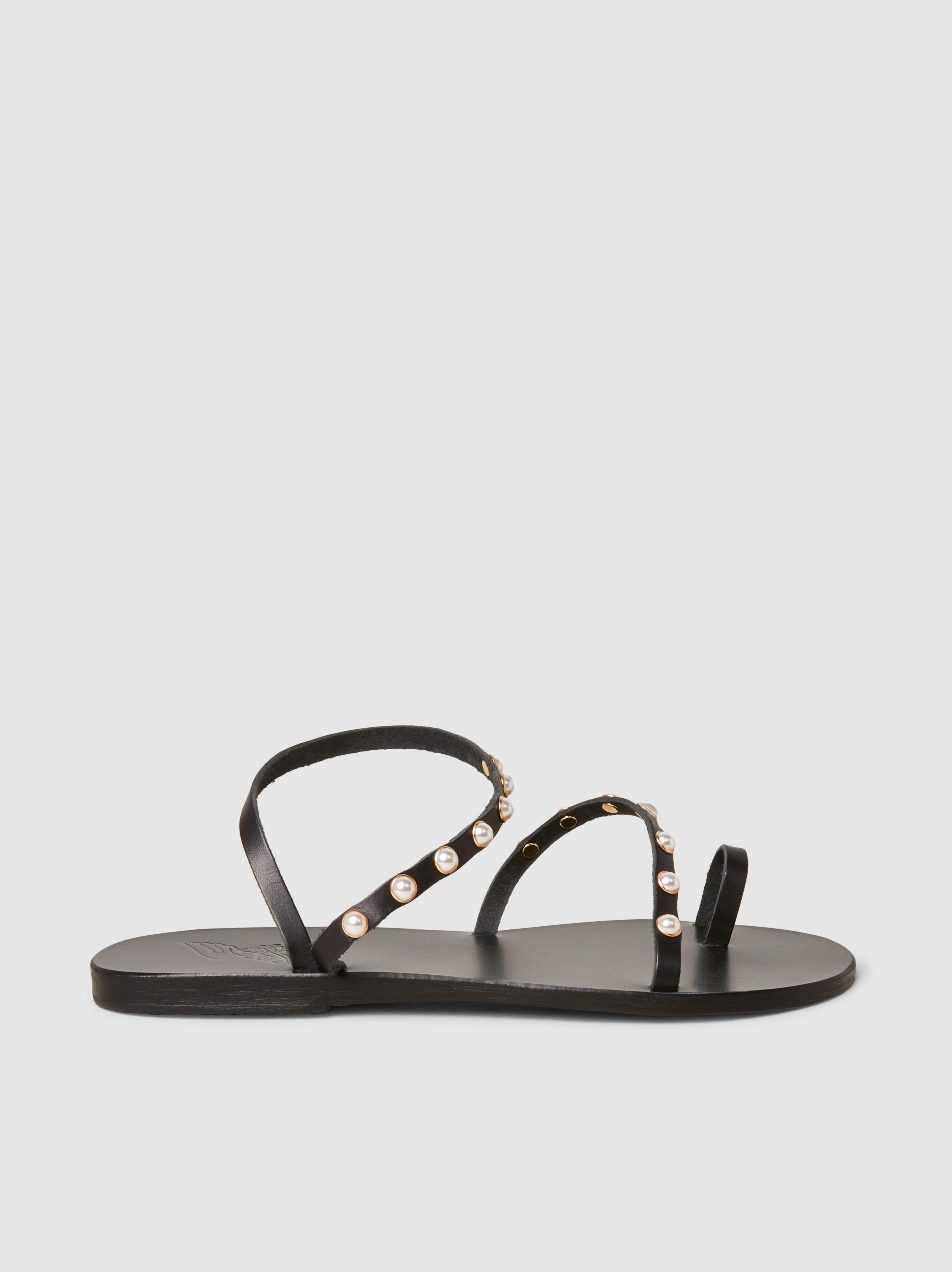 442c3be97 Ancient Greek Sandals. Women s Black Apli Leather Elefthera Pearls Sandal