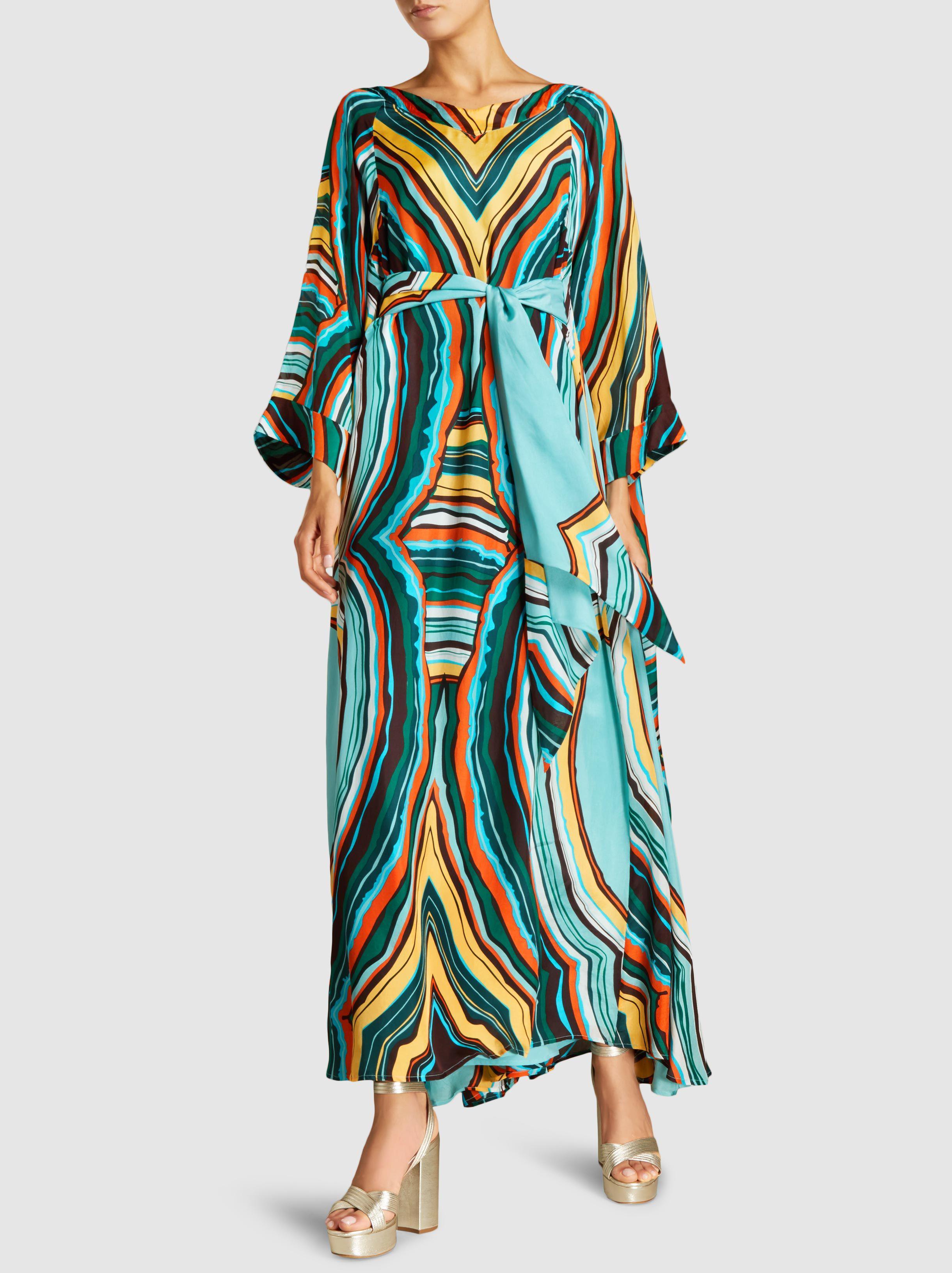 Striped Silk-Blend Kaftan Gown Dhela AVKzEgR