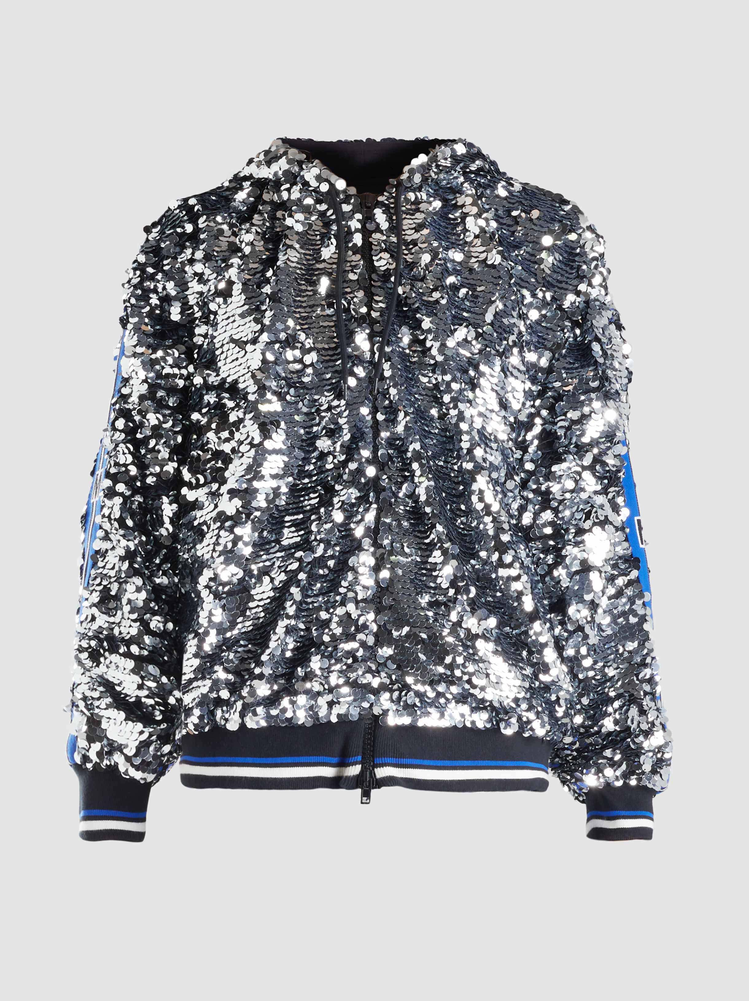 ab7997dd4b MSGM Sequin Zip-up Hoodie in Metallic - Lyst