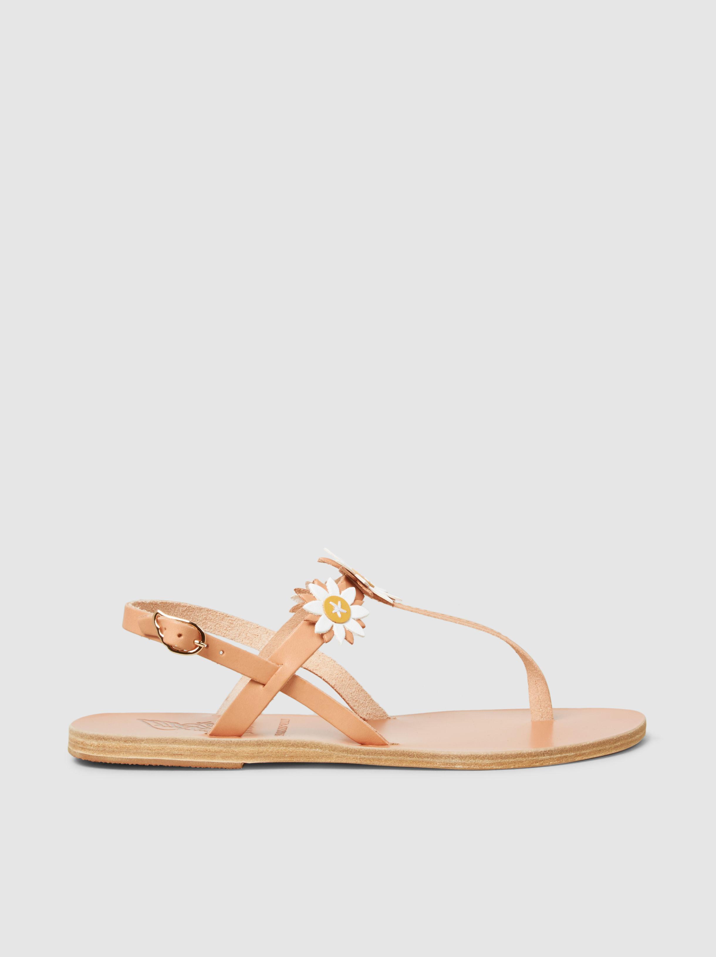Sylvie Floral-Embellished Leather Sandal Ancient Greek Sandals hDohpcI