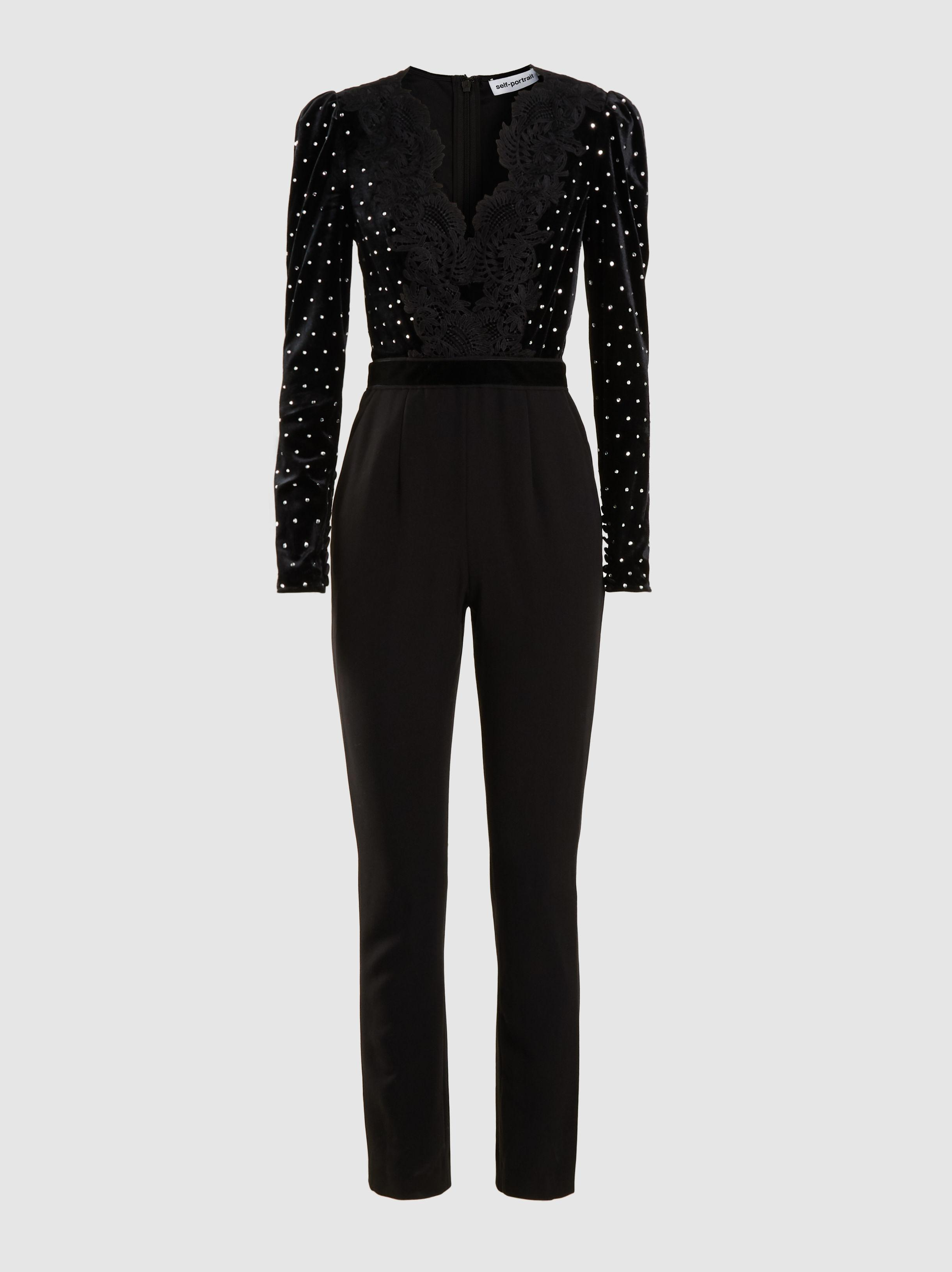 9e909bc988fa Lyst - Self-Portrait Jumpsuit With Crystals And Lace in Black - Save 16%