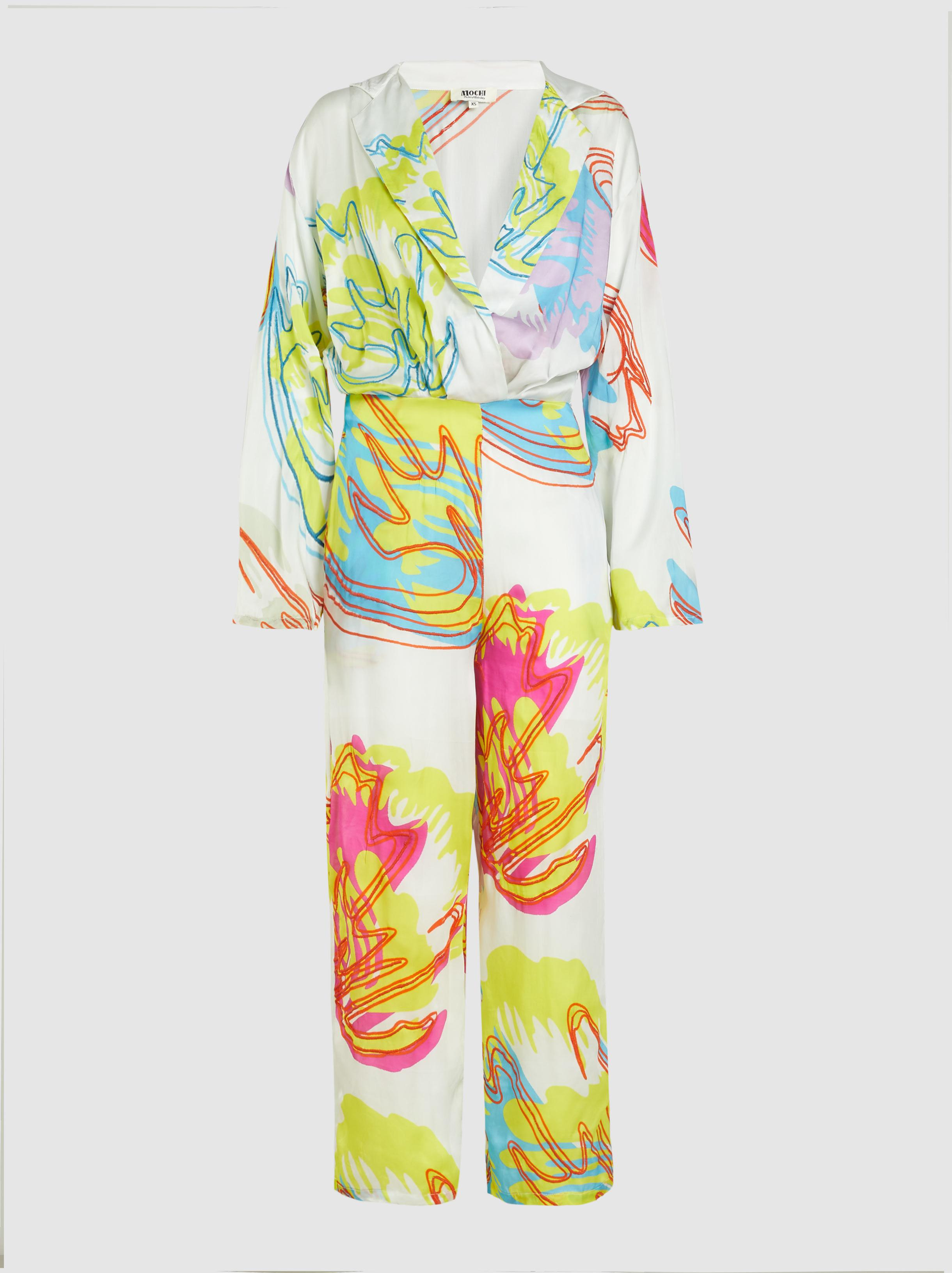 16f1a168596 Lyst - All Things Mochi Anushka Long Sleeve Floral Jumpsuit in White
