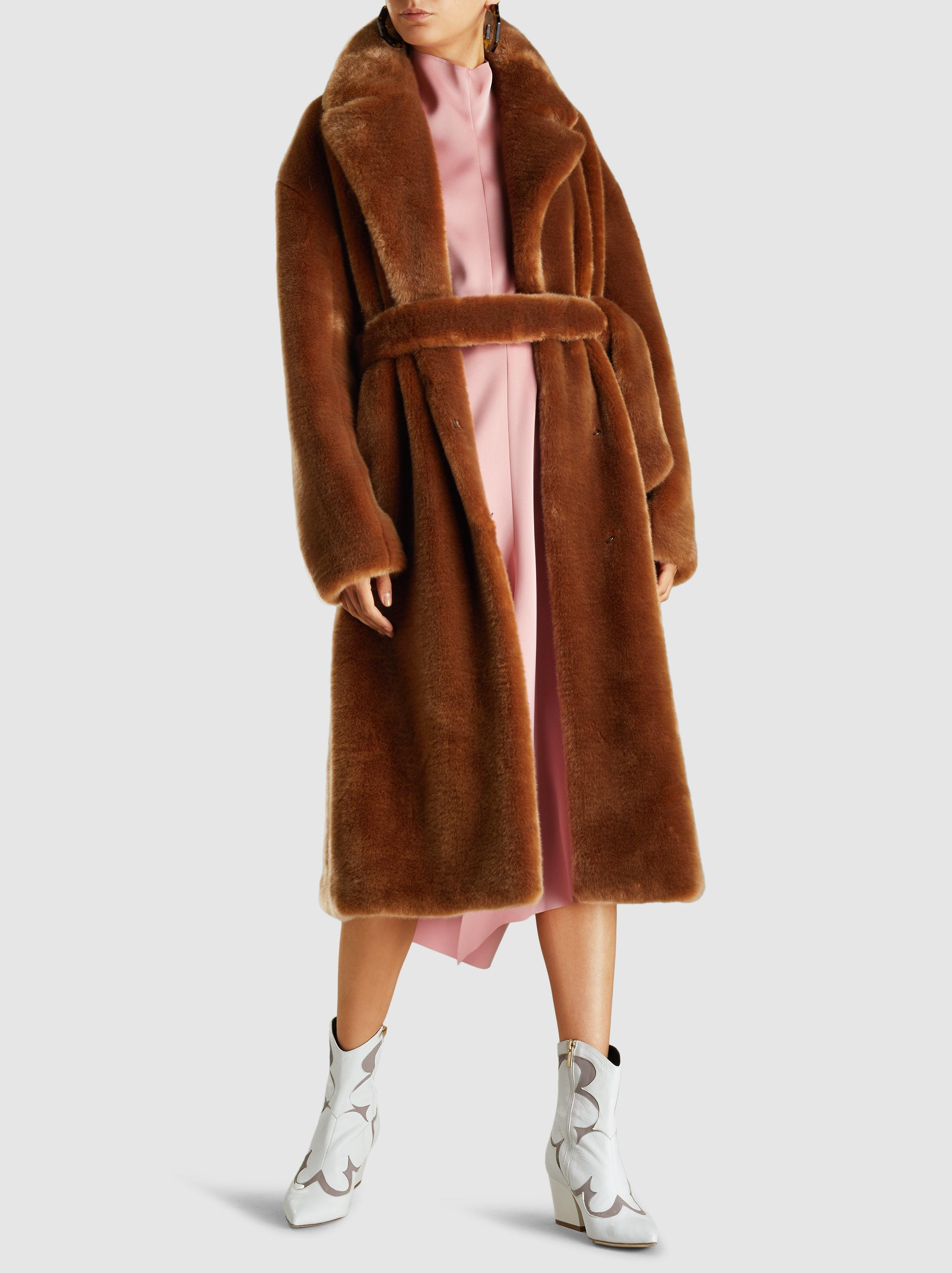 15f5e9bbb1aa Lyst - Tibi Luxe Faux-fur Oversized Trench Coat in Brown - Save 68%