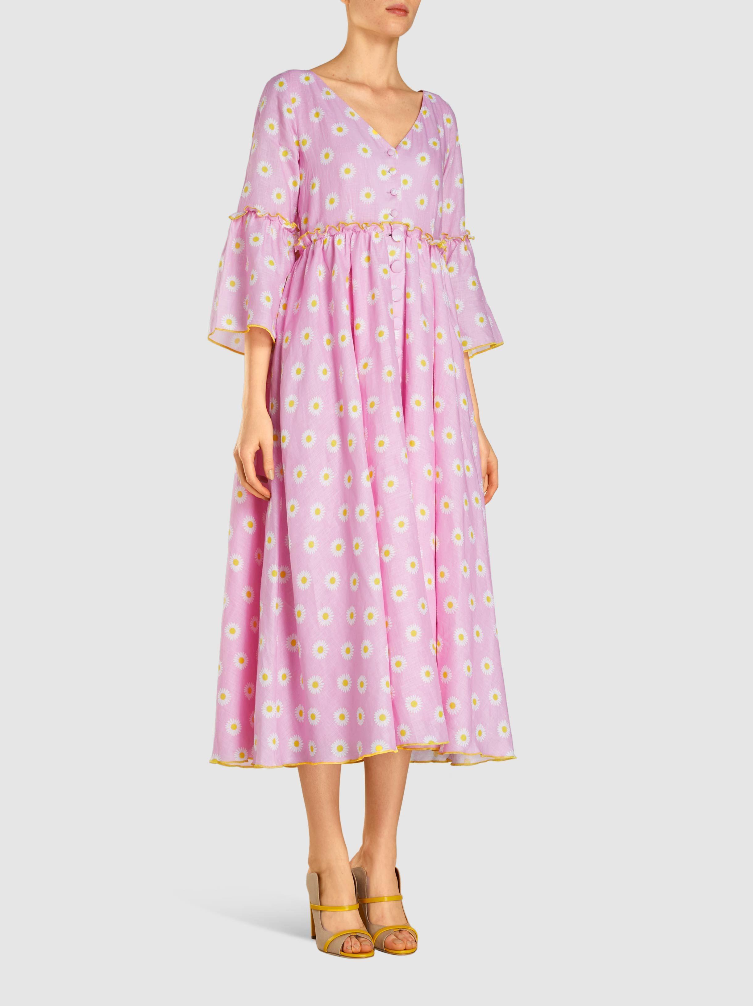 8853ad9dee Gül Hürgel Daisy Print Linen Midi Dress in Pink - Lyst