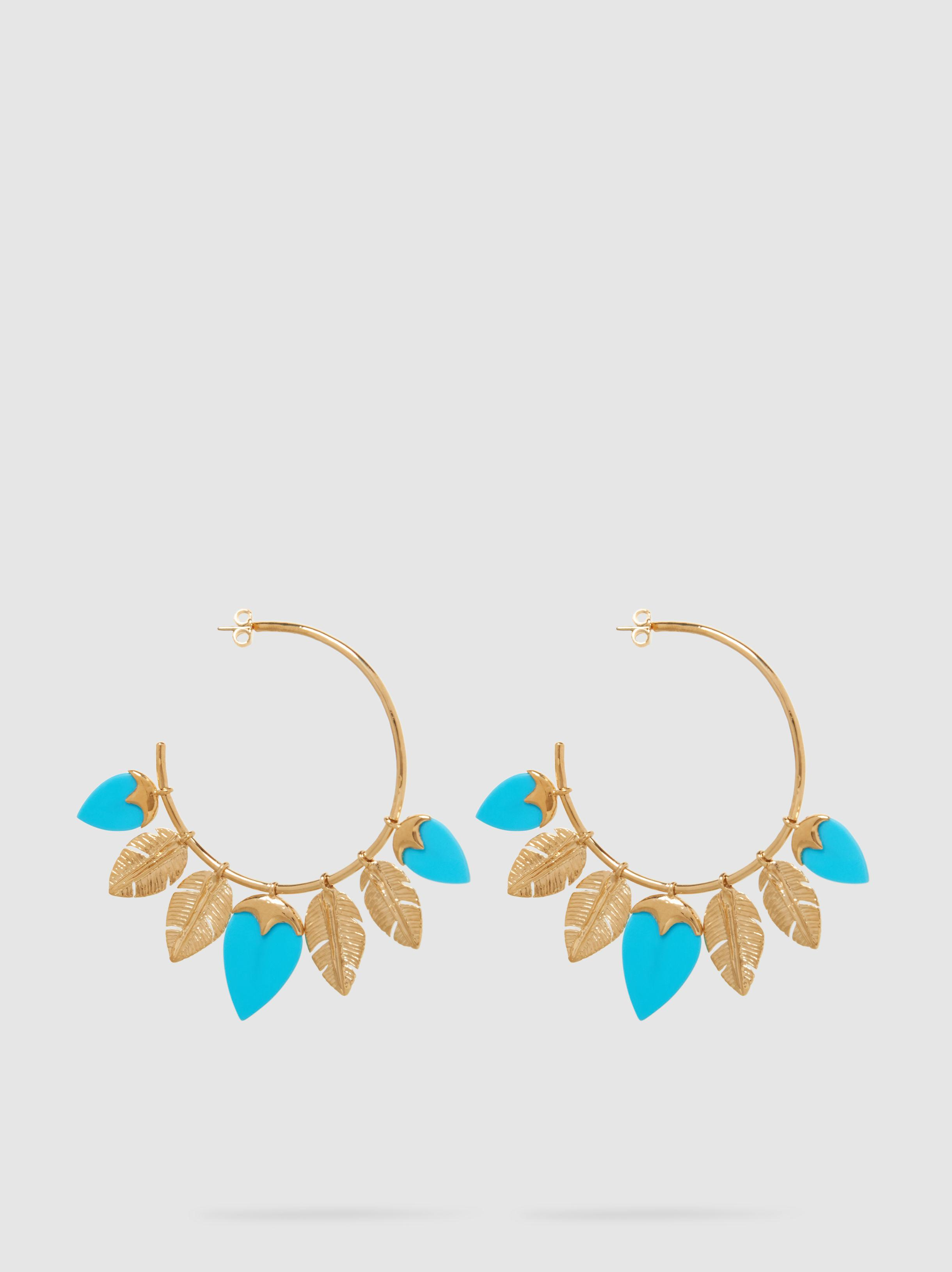 Talitha Gold-plated Turquoise Hoop Earrings - one size Aur zIzk9C