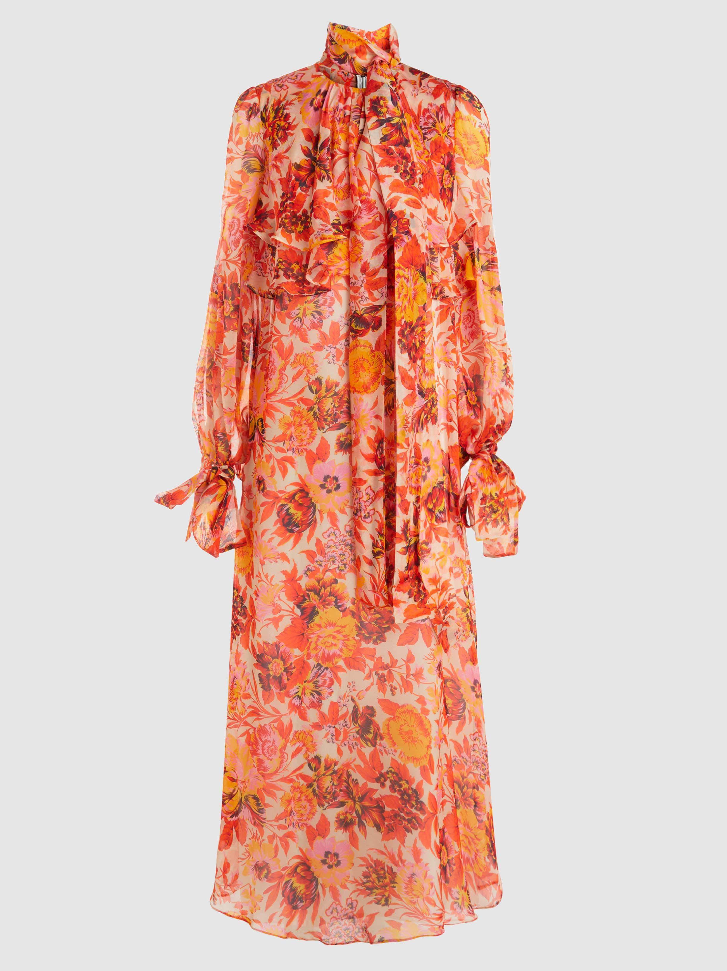 Printed Silk-Organza Maxi Dress Msgm kwRF6L3uHc
