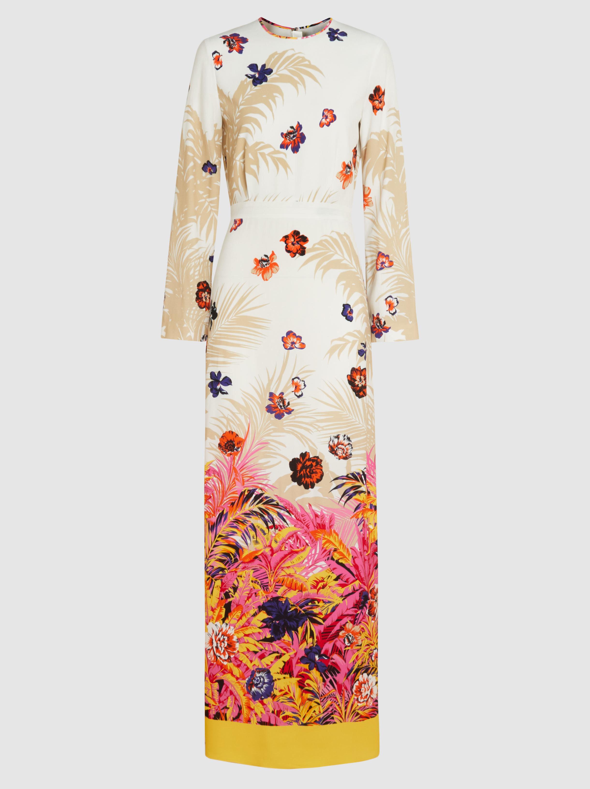 Floral-Print Crepe Maxi Dress Msgm 7BrTgnY