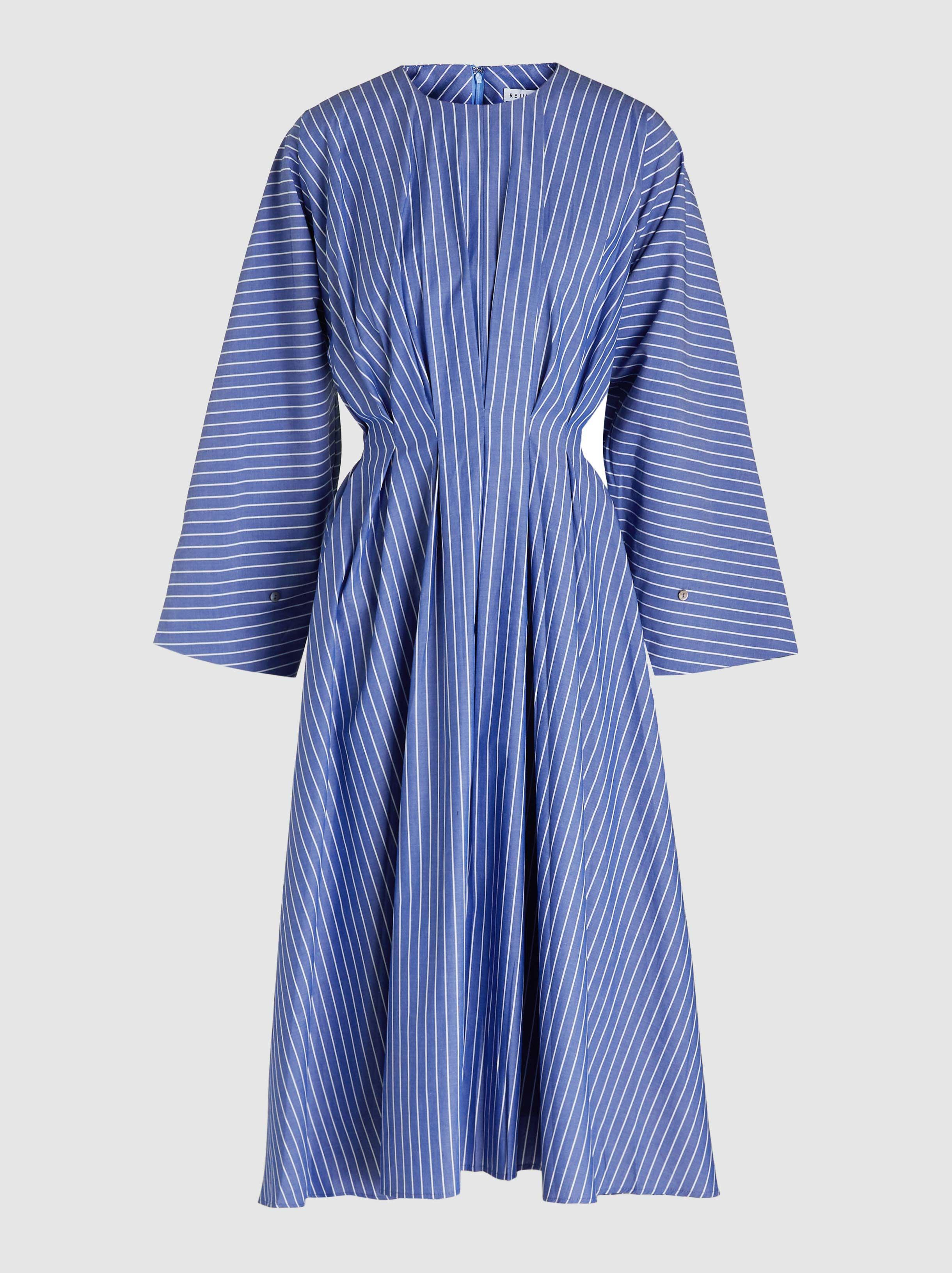 a5888c78cd Rejina Pyo Alice Pleated Striped Cotton Midi Dress in Blue - Lyst