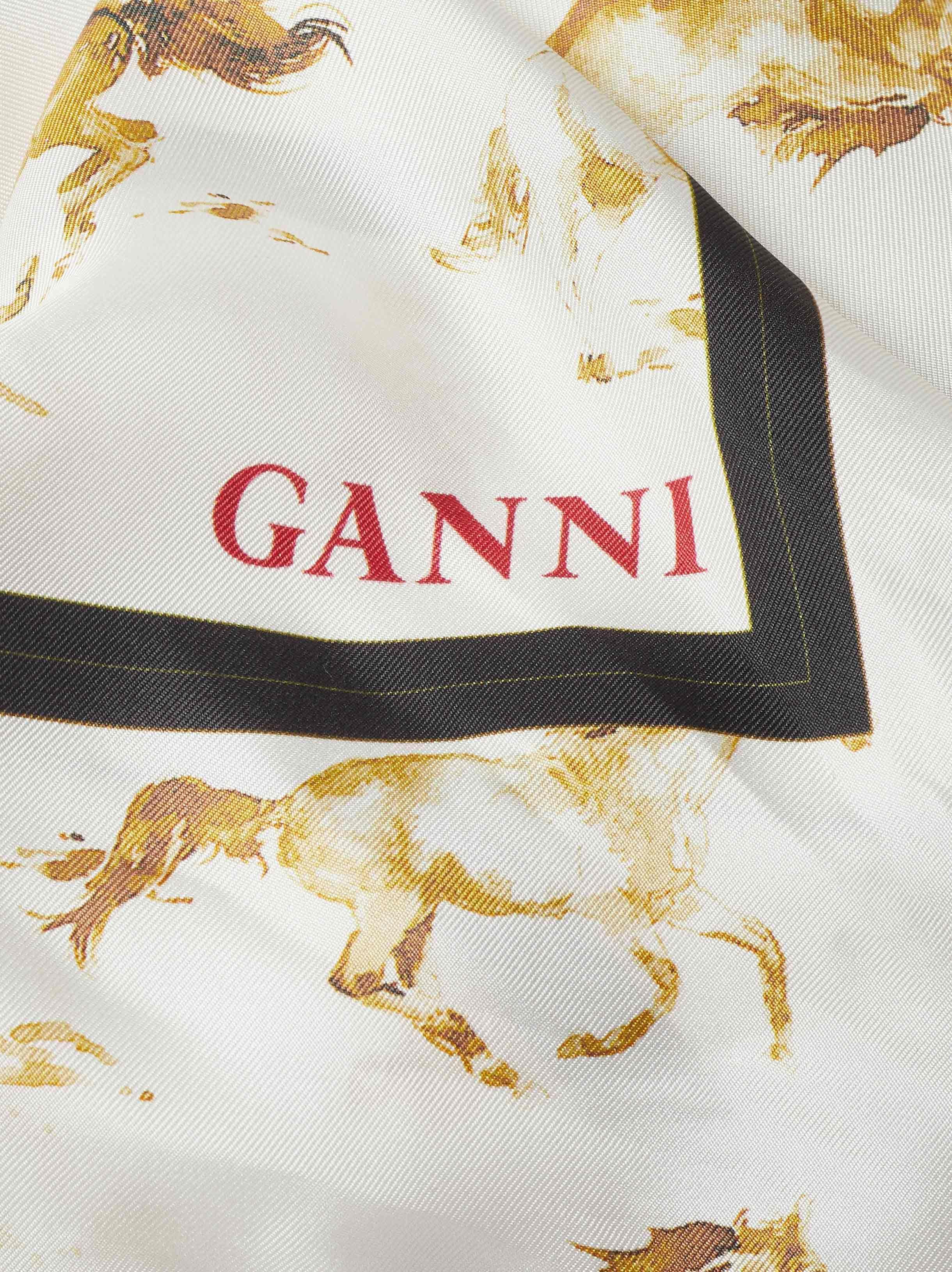 fc43128f Ganni Horse Print Silk Scarf - Lyst