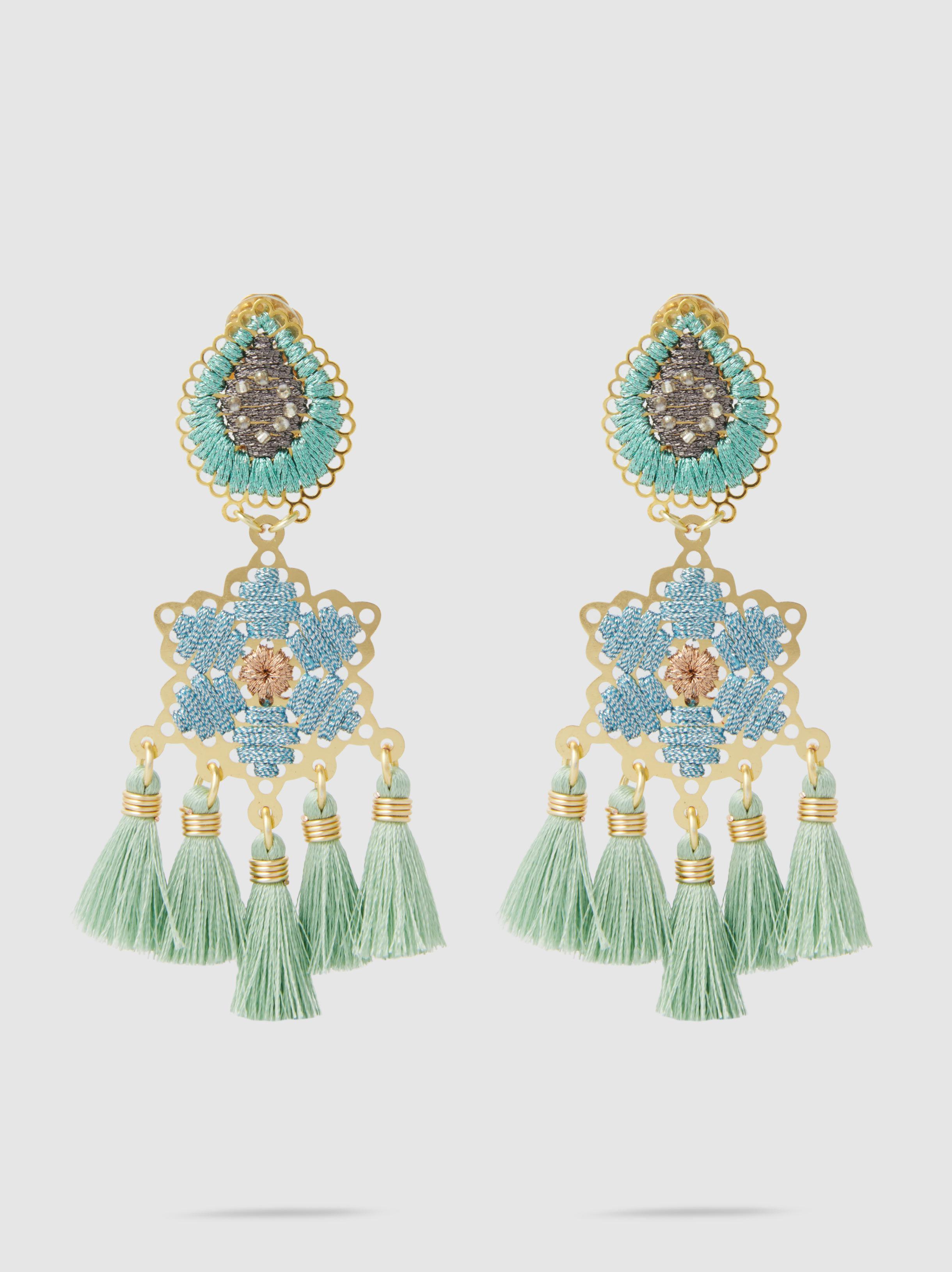 Mercedes Salazar Hibiscus Tasseled Gold-Tone Earrings JS7XUHRhi