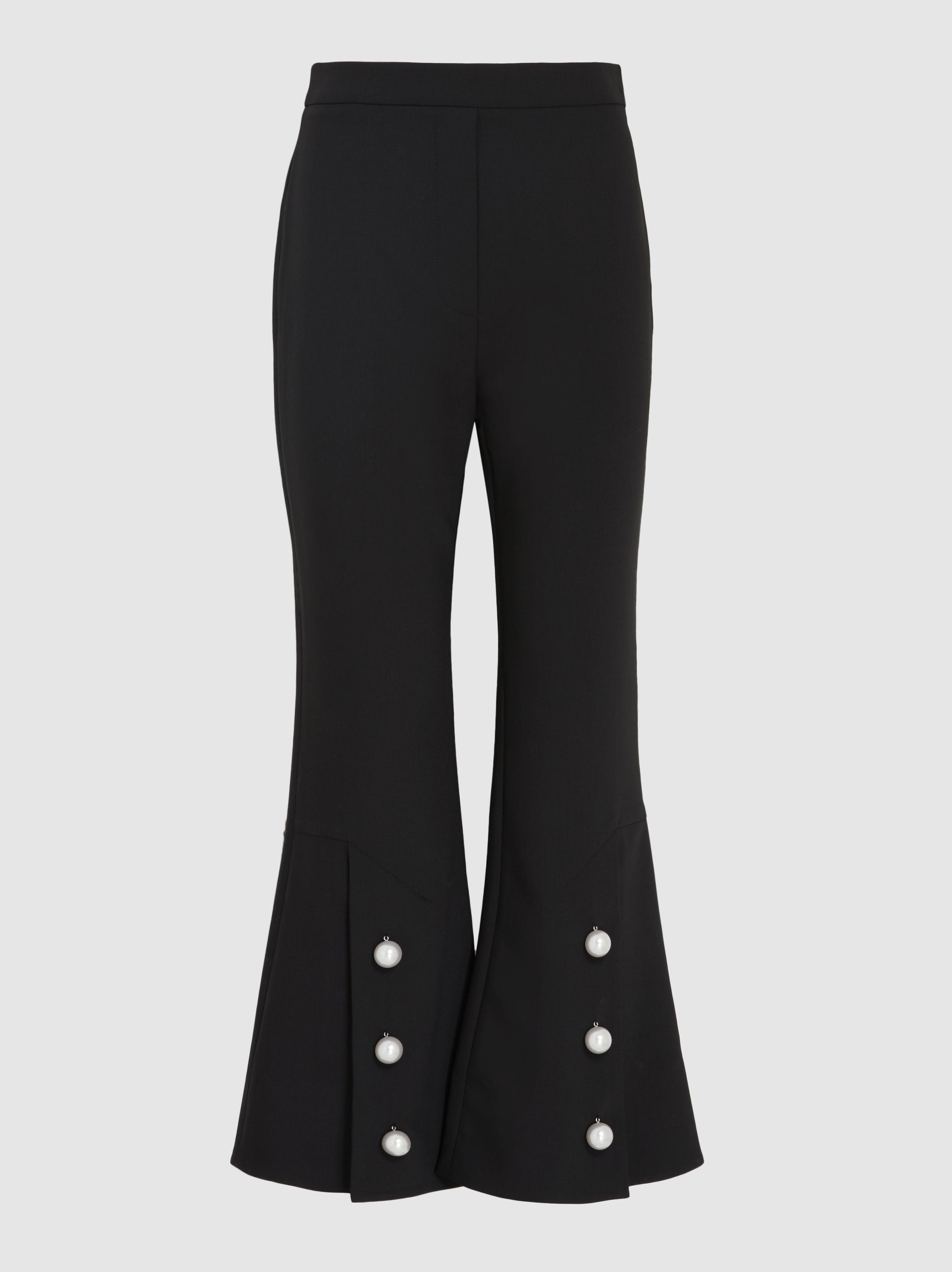Ellery Woman Faux Pearl-embellished Woven Flared Pants Black Size 8 Ellery 8DE0i