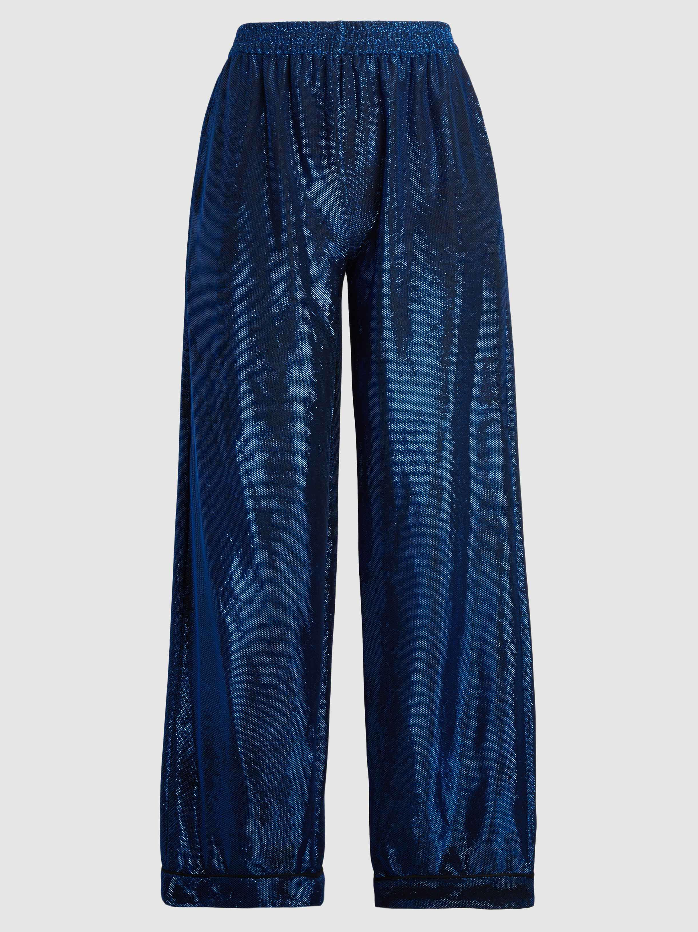 Lurex Wide-Leg Cropped Trousers Dima Ayad QMsBbvD