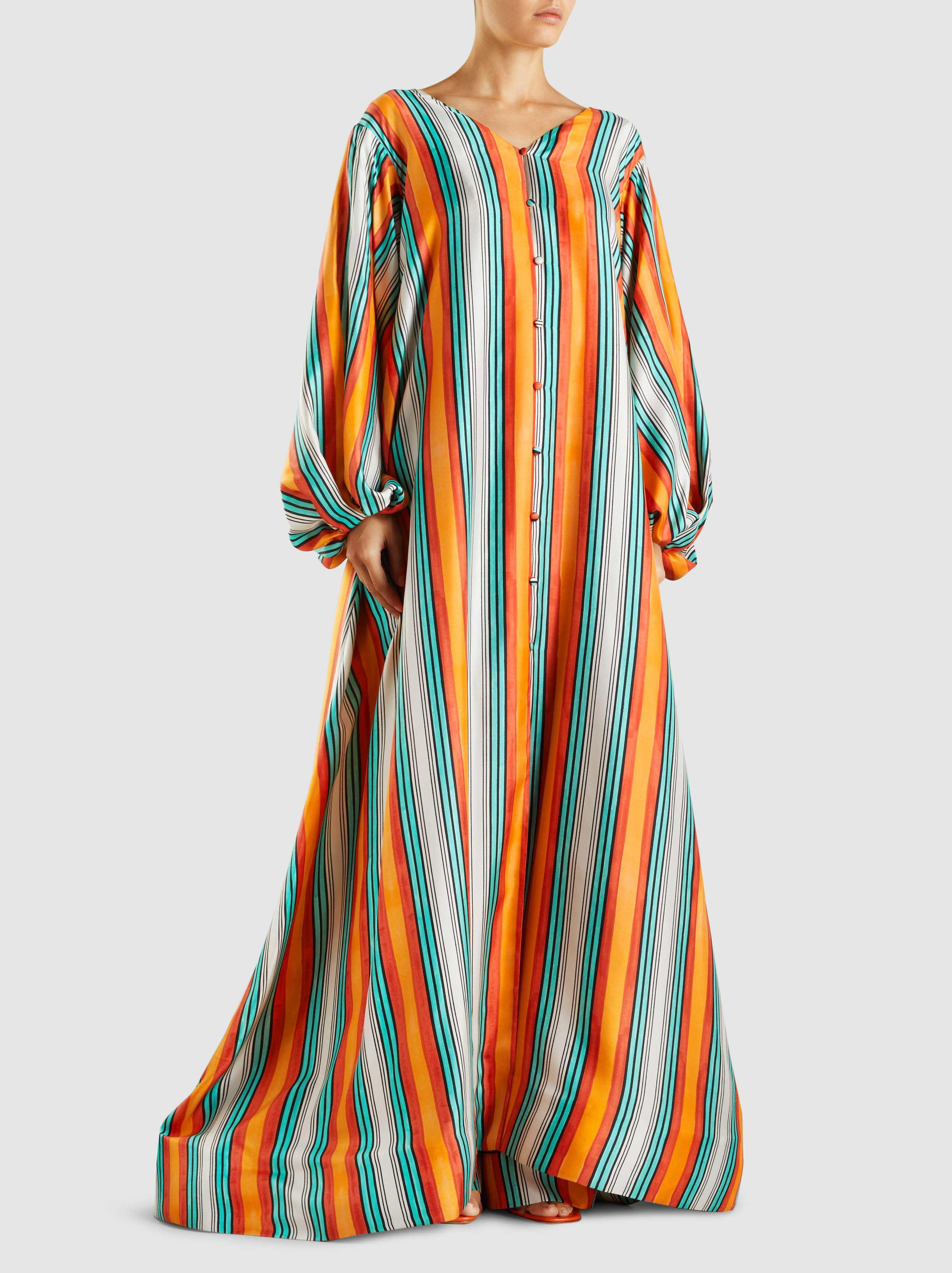 Silk Balloon Sleeve Striped Kaftan Marina Moscone 0HOLjz