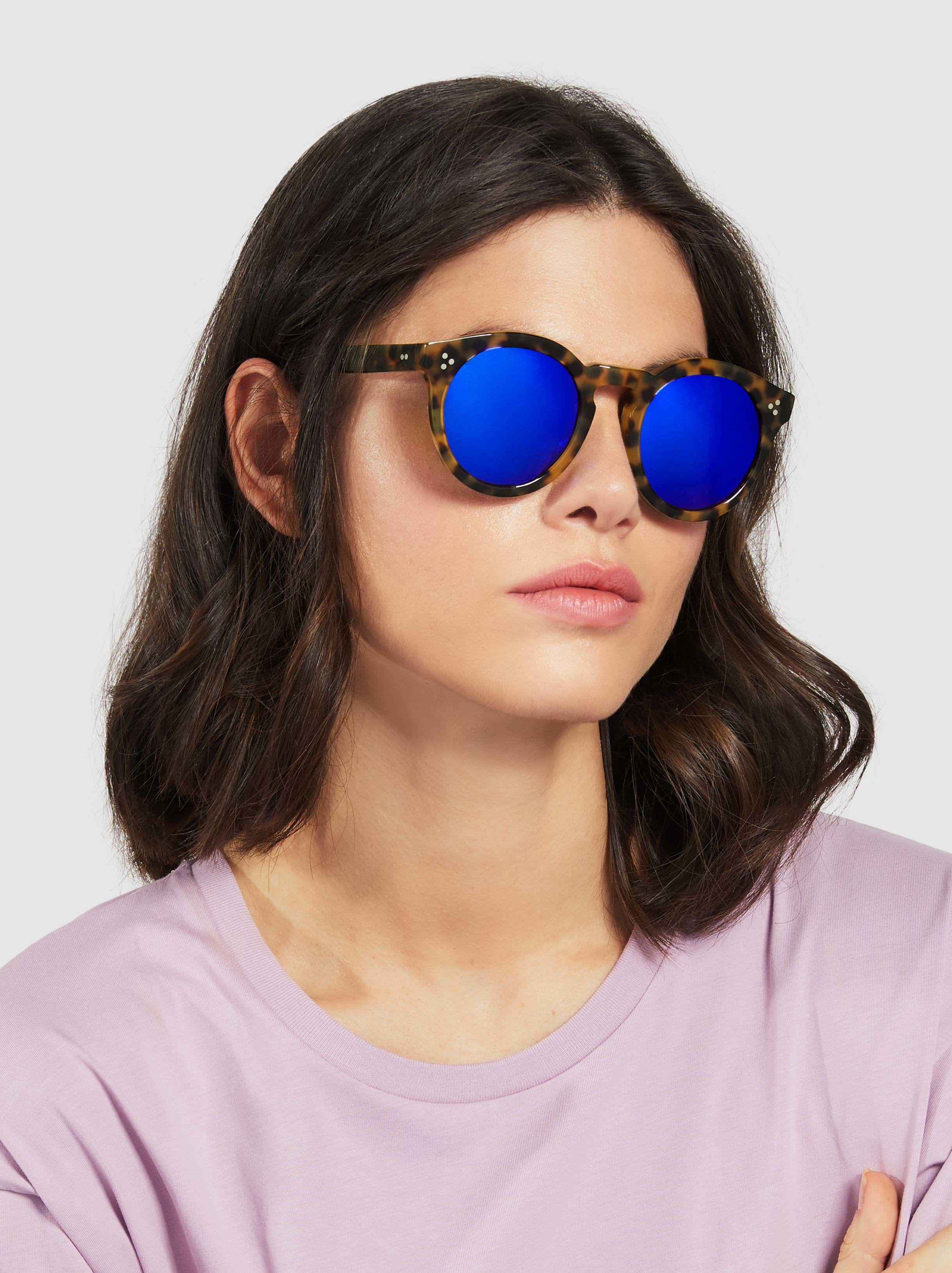 cf7ee3c9c2 Illesteva - Blue Leonard Ii Round Sunglasses - Lyst. View fullscreen