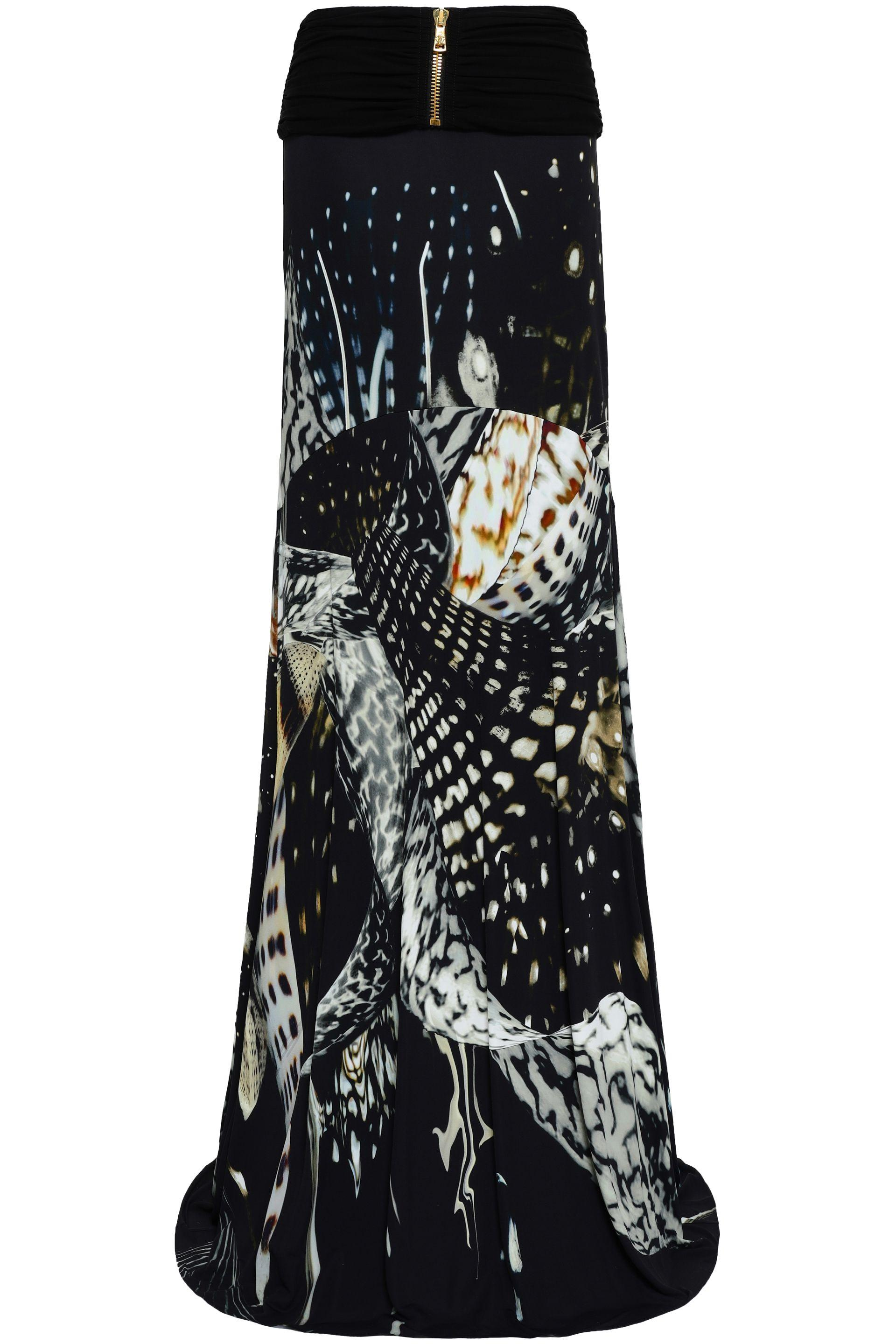 Roberto Cavalli Woman Printed Satin Maxi Skirt Black in Black - Lyst 5d8a26dac