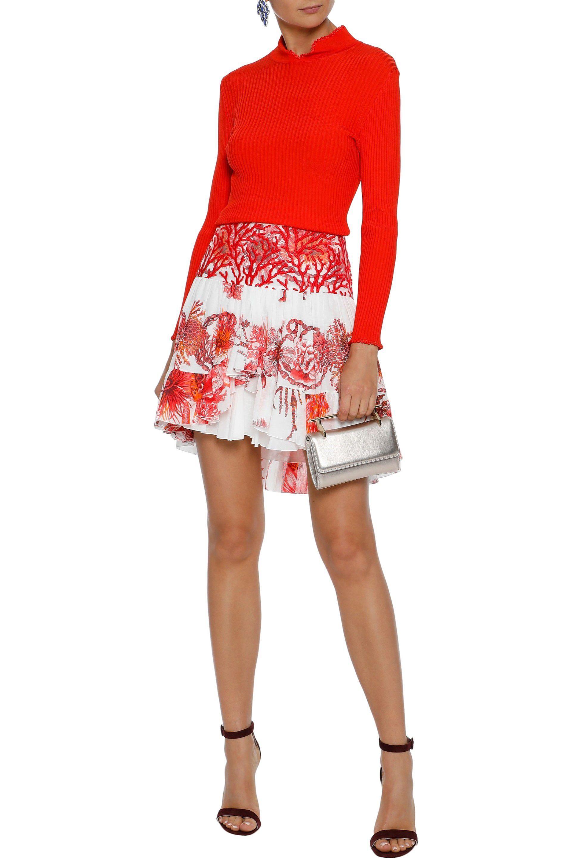 74da09e6f5ea Lyst - Roberto Cavalli Woman Embroidered Tulle-paneled Floral-print ...