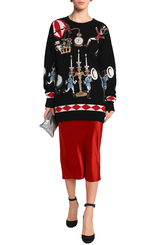 83f2b52b4ded Dolce   Gabbana - Woman Embellished Jacquard-knit Cashmere Sweater Black -  Lyst. View fullscreen