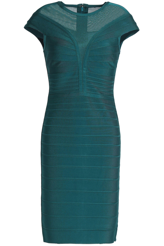 ad954ae7daf7 Hervé Léger Hervé Léger Woman Mesh-paneled Bandage Dress Teal in ...