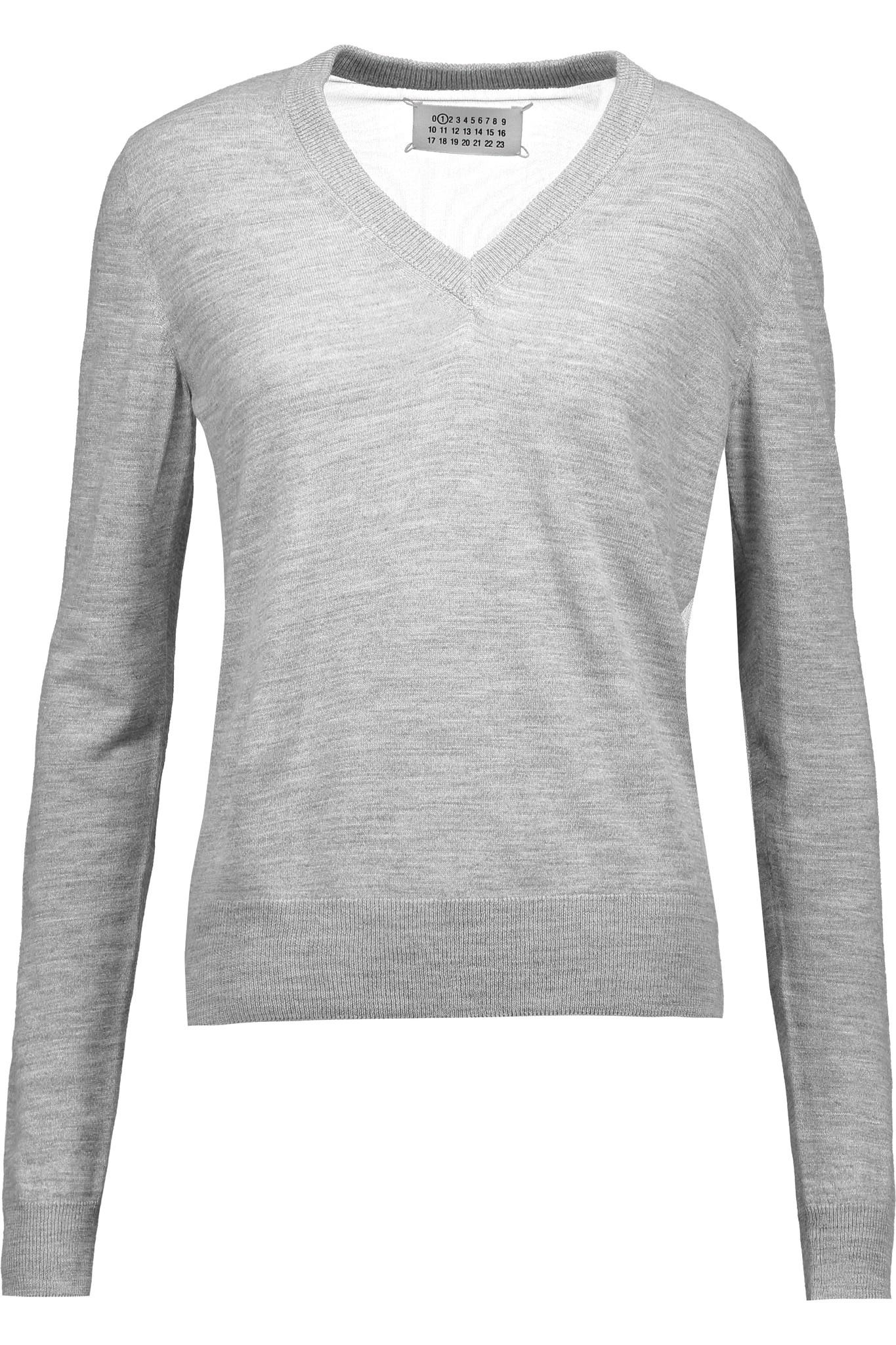 2cde5e3e6c4 Lyst - Maison Margiela Tulle-paneled Knitted Sweater in Gray