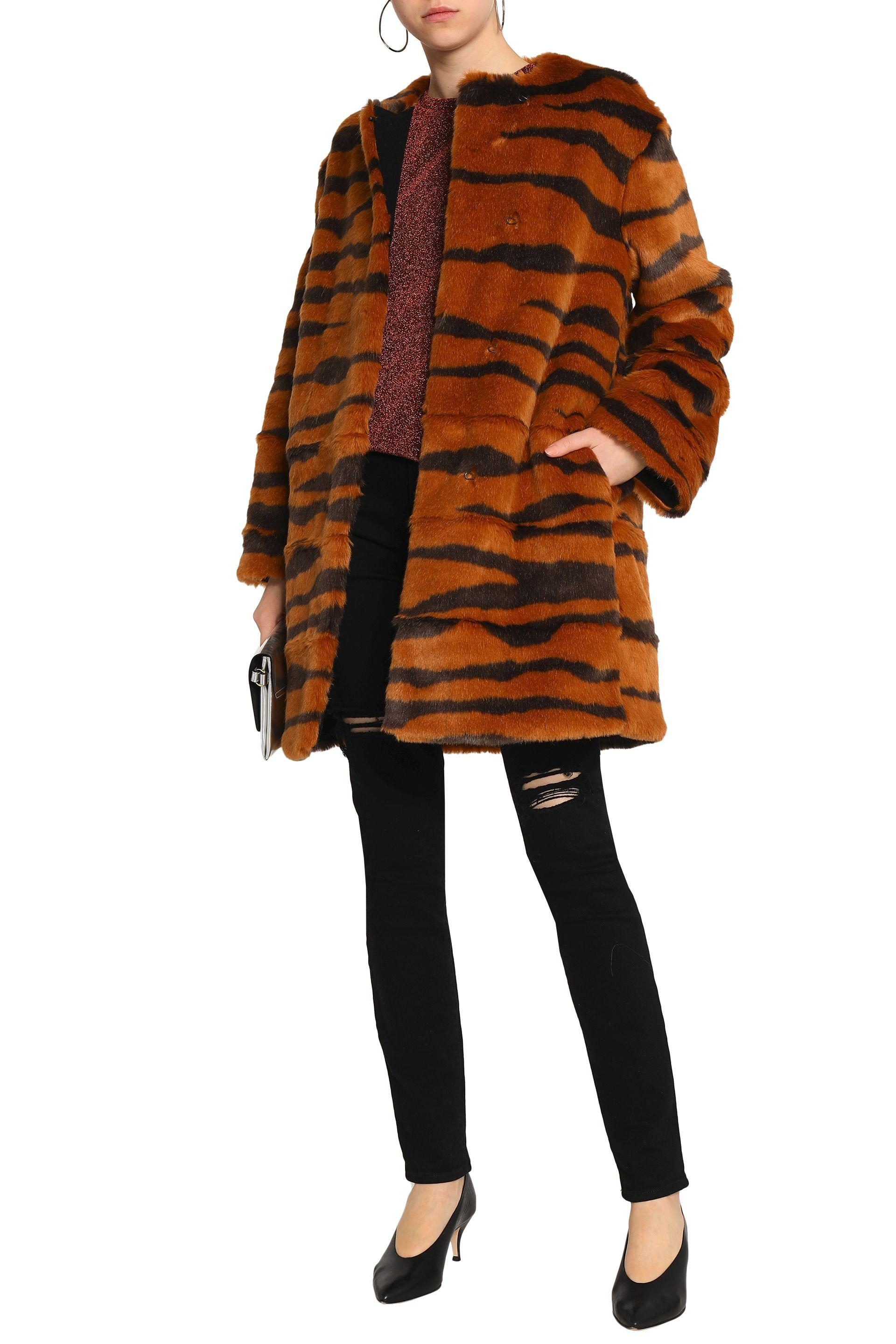 ddfc953bba93 MSGM Woman Printed Faux Fur Coat Animal Print in Brown - Lyst