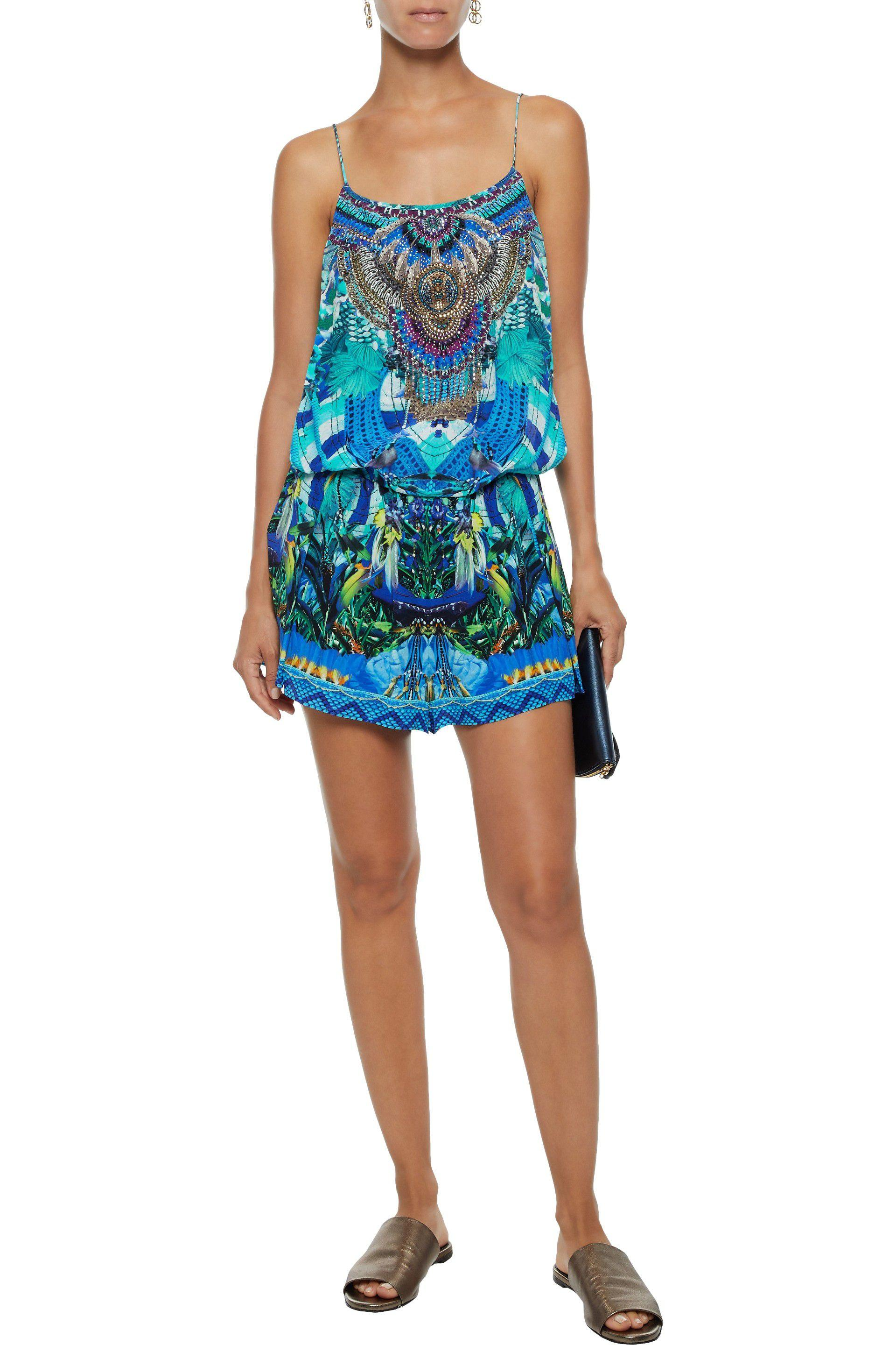 8874cd16de0 Camilla - Blue Woman Masking Madness Embellished Printed Silk Playsuit  Turquoise - Lyst. View fullscreen