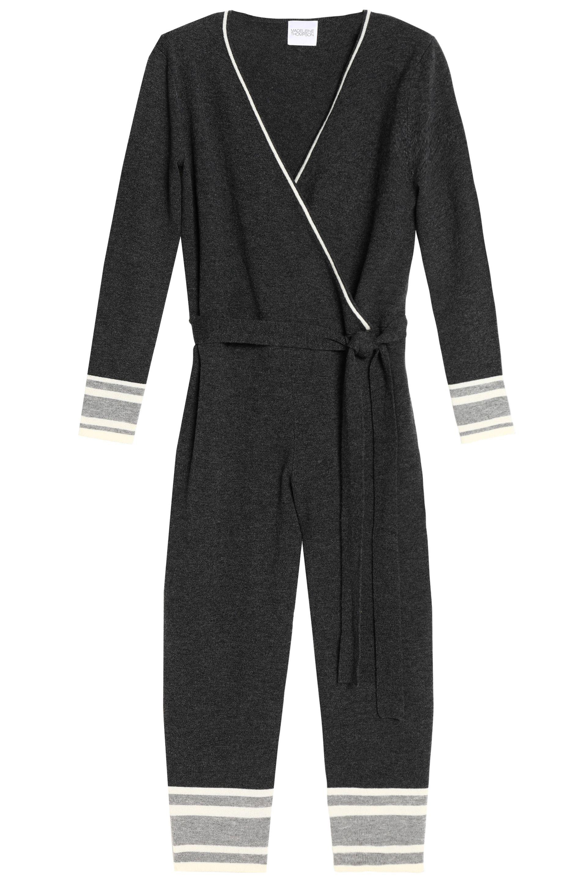 Madeleine Thompson Woman Wrap-effect Wool And Cashmere-blend Jumpsuit Dark Gray Size S Madeleine Thompson Good Selling Eastbay Cheap Online Sale Fast Delivery bhd8I5L