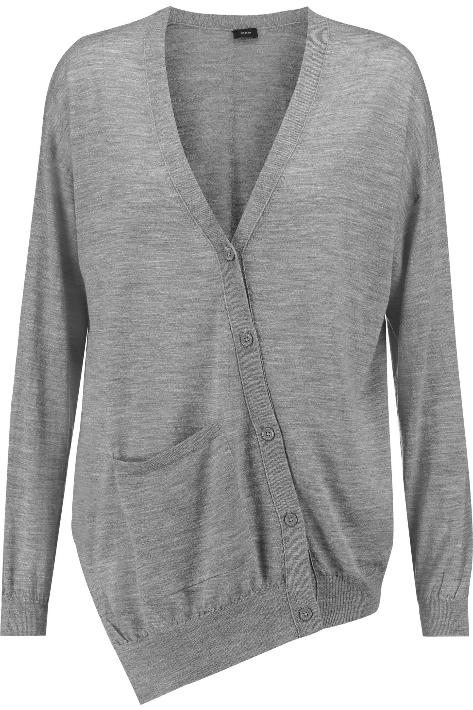 JOSEPH. Women's Grey Asymmetric Merino Wool Cardigan