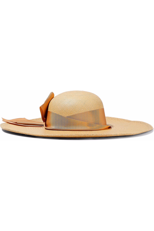 939f73dc6158c Sensi Studio. Women s Natural Woman Bow Grosgrain-trimmed Straw Panama Hat  Beige