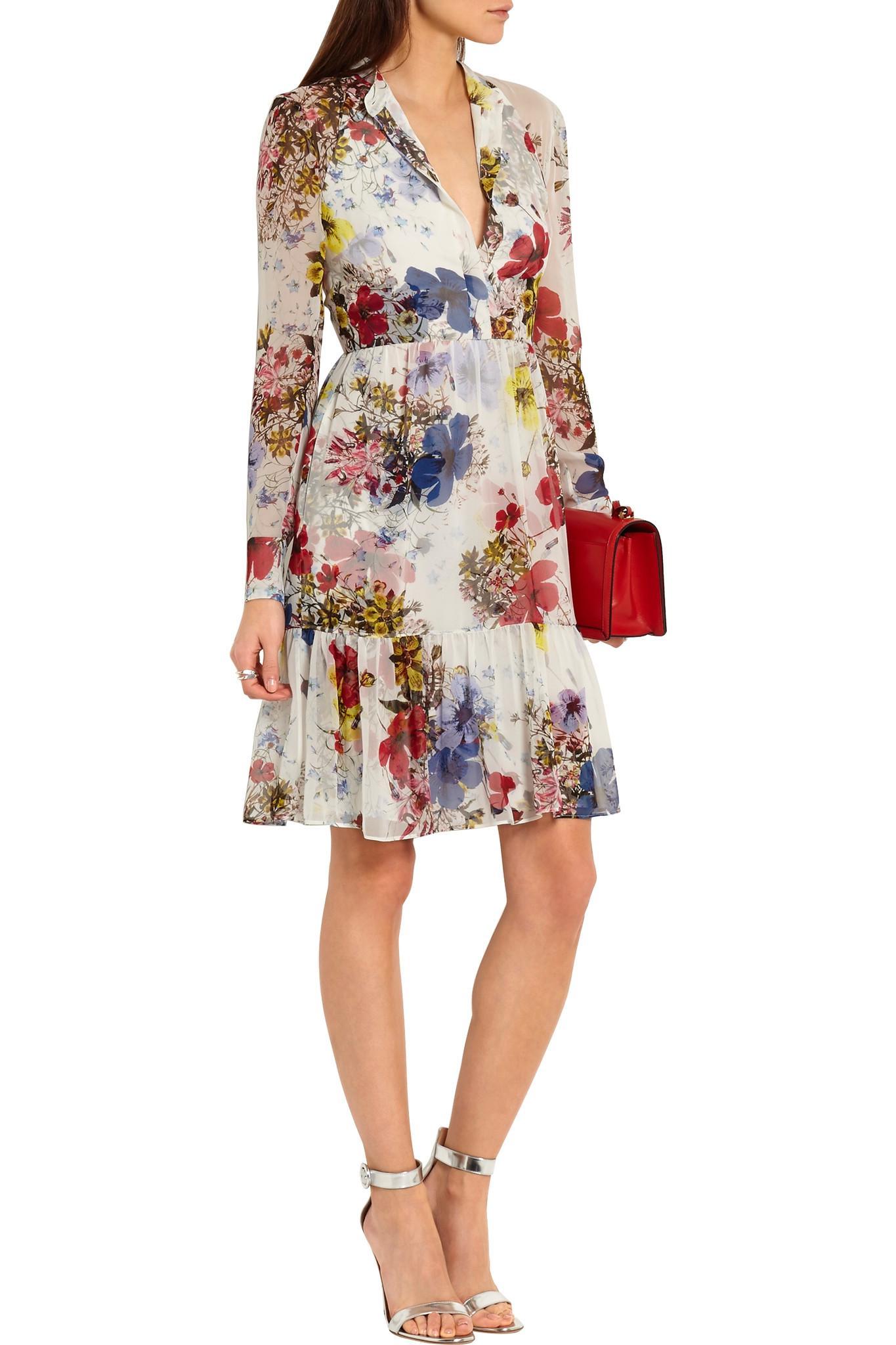 Floral-printed silk minidress Erdem cvsIRerqzf