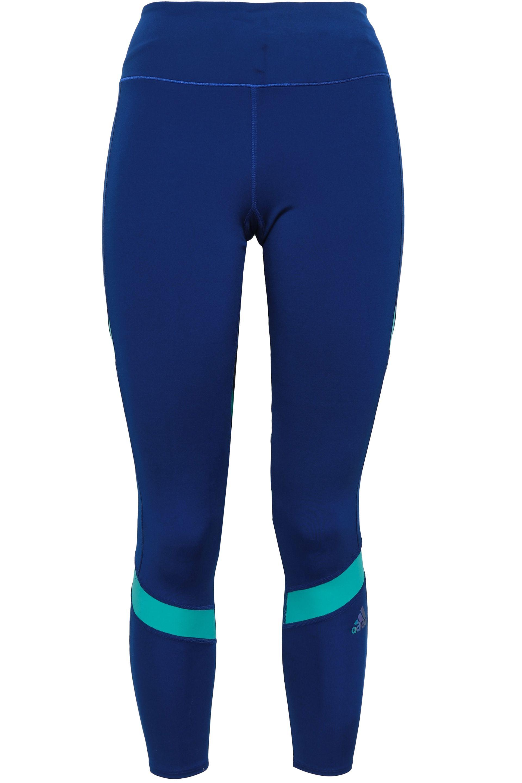 25e781410c350 adidas Woman Two-tone Tech-jersey Leggings Royal Blue in Blue - Lyst