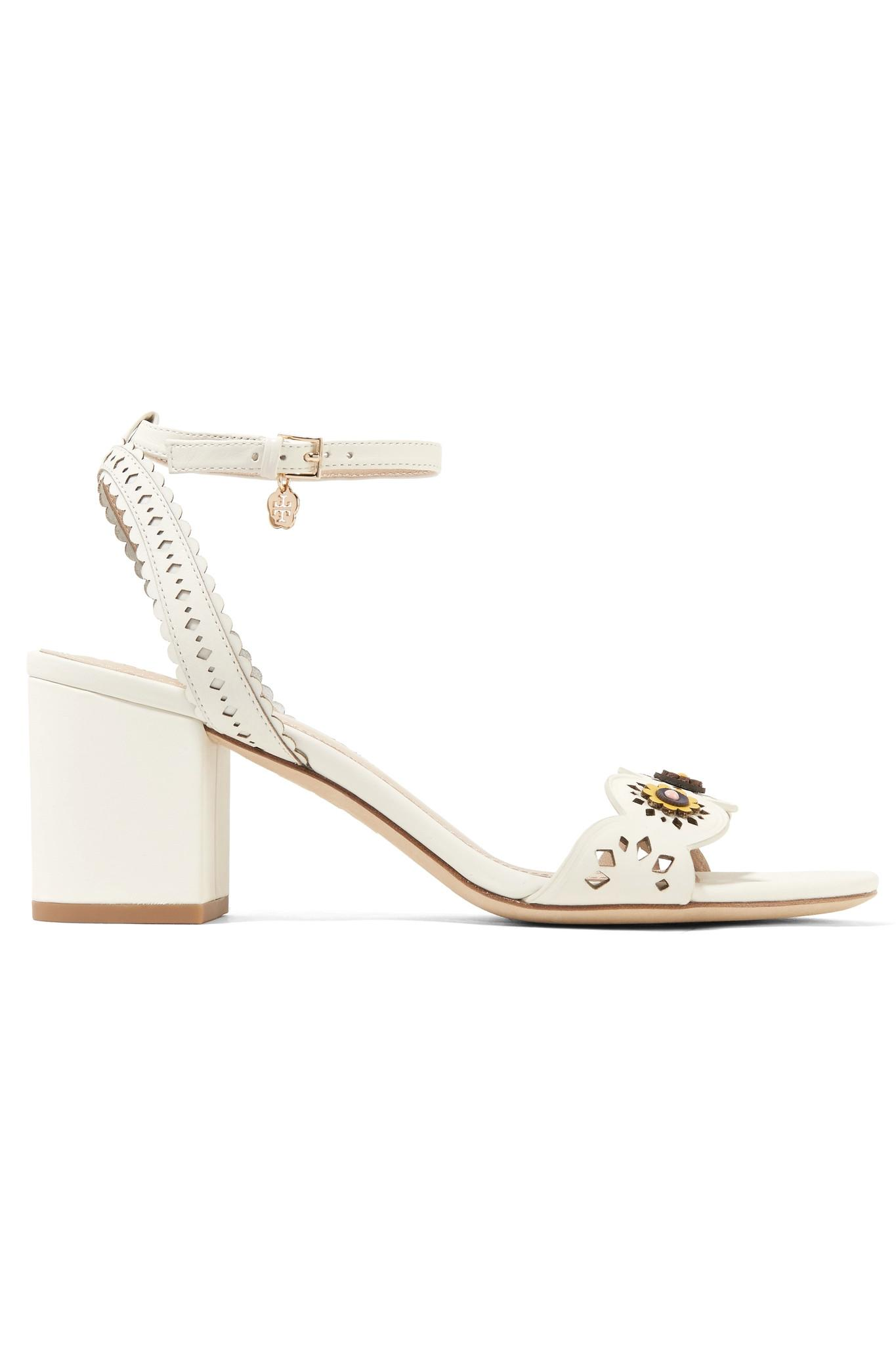 abdfae9570892 Tory Burch - White Marguerite Embellished Perforated Leather Sandals - Lyst