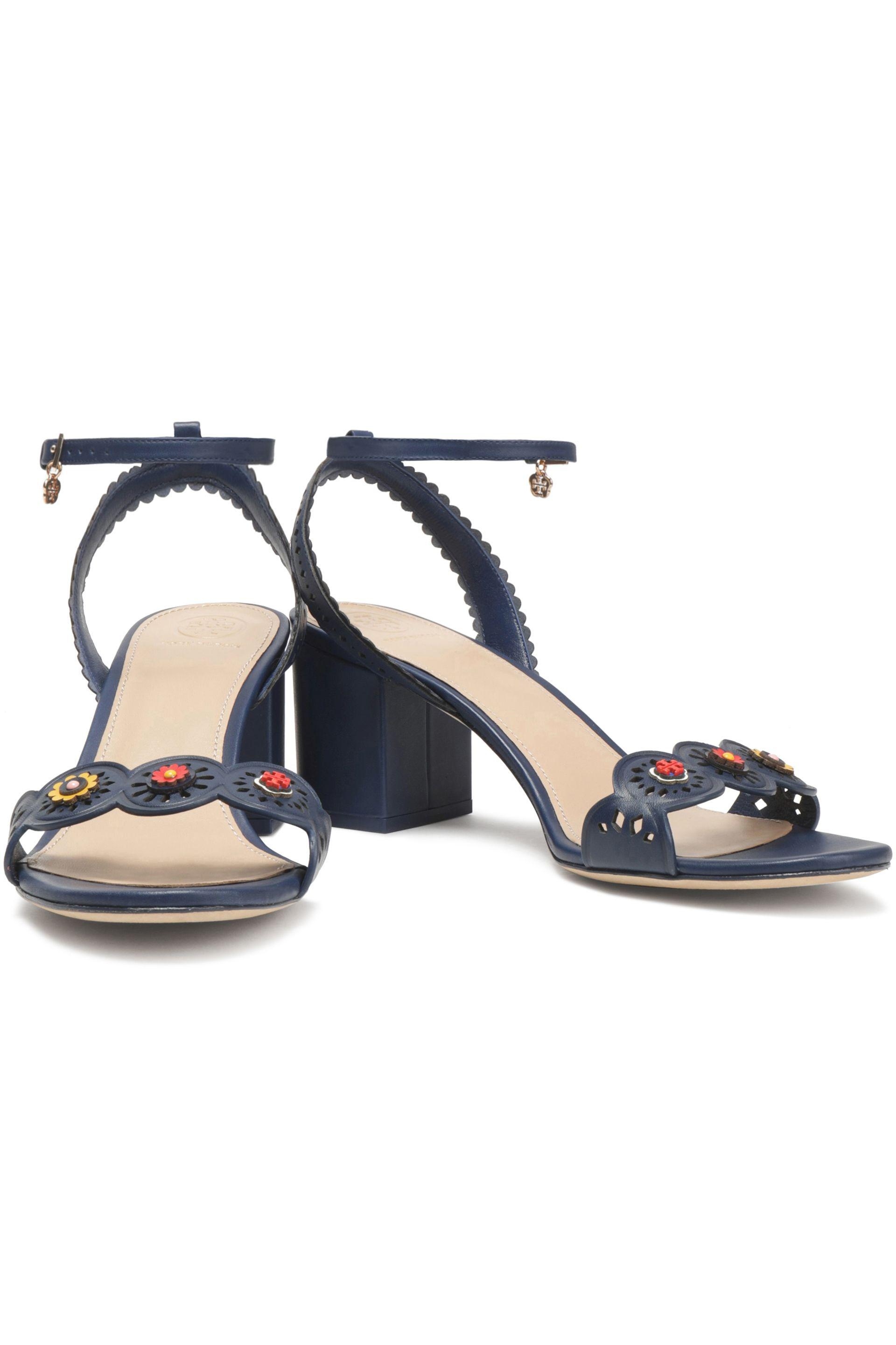 8807f5fdb7d Tory Burch Leather Marguerite Sandals in Blue - Lyst
