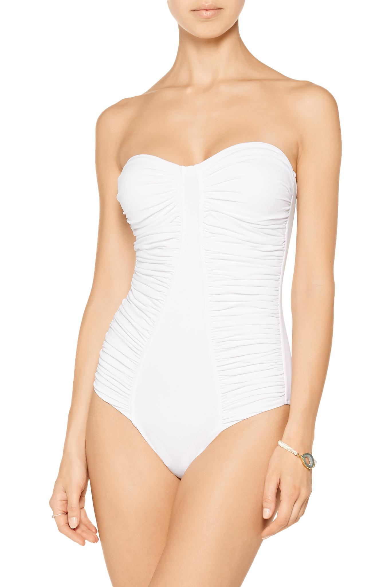 03d5b2c0dd Lyst - Melissa Odabash Sahara Ruched Bandeau Swimsuit in White