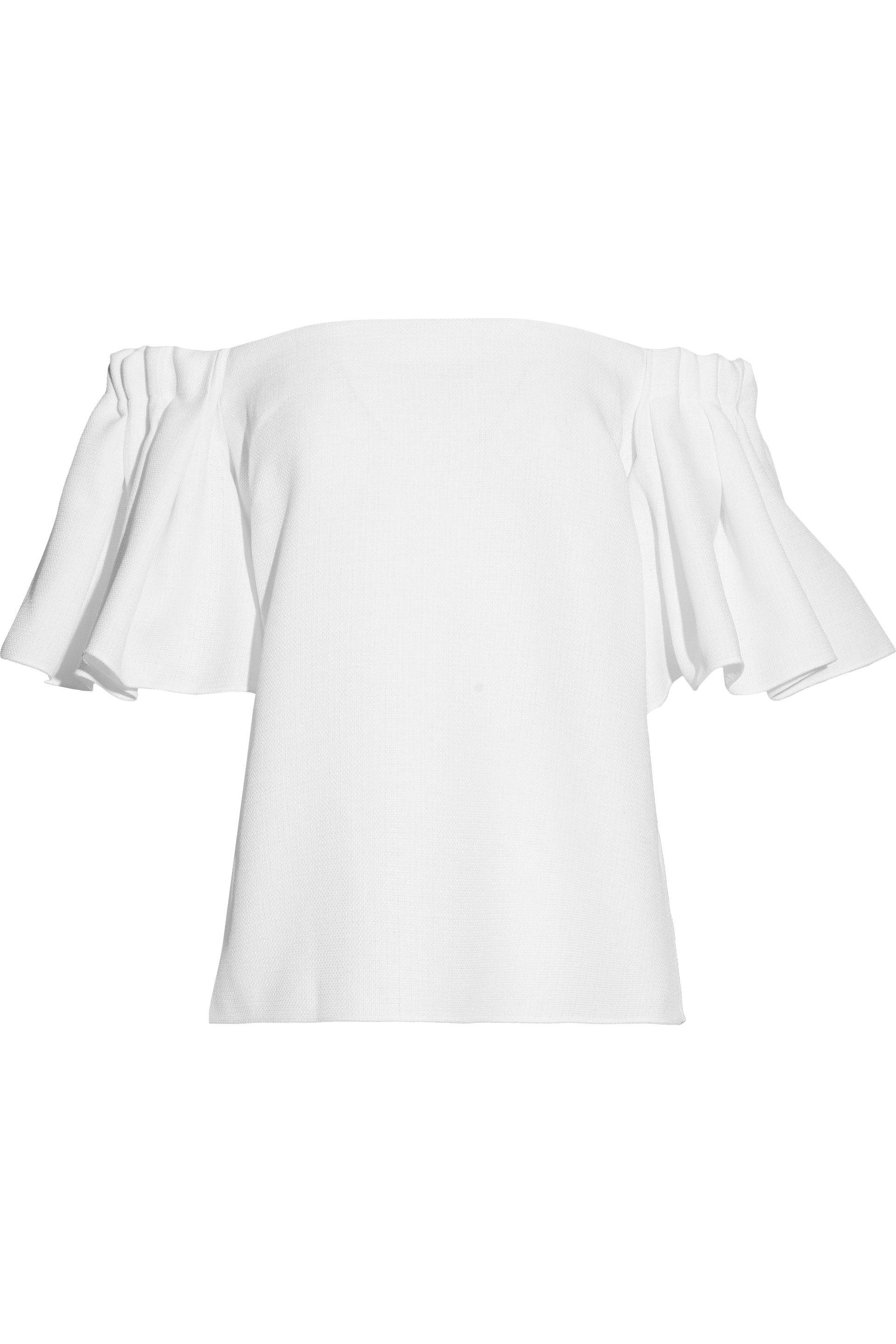 Badgley Mischka Woman Off-the-shoulder Ruffled Woven Top White Size XL Badgley Mischka Clearance With Credit Card vh2Umv