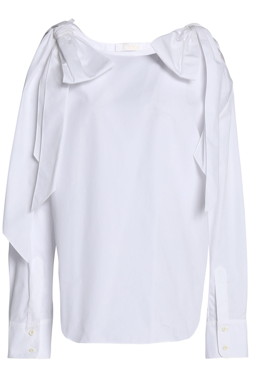 ee3bdca4dc9972 Lyst - Chloé Chloé Woman Cold-shoulder Draped Cotton Top White in White