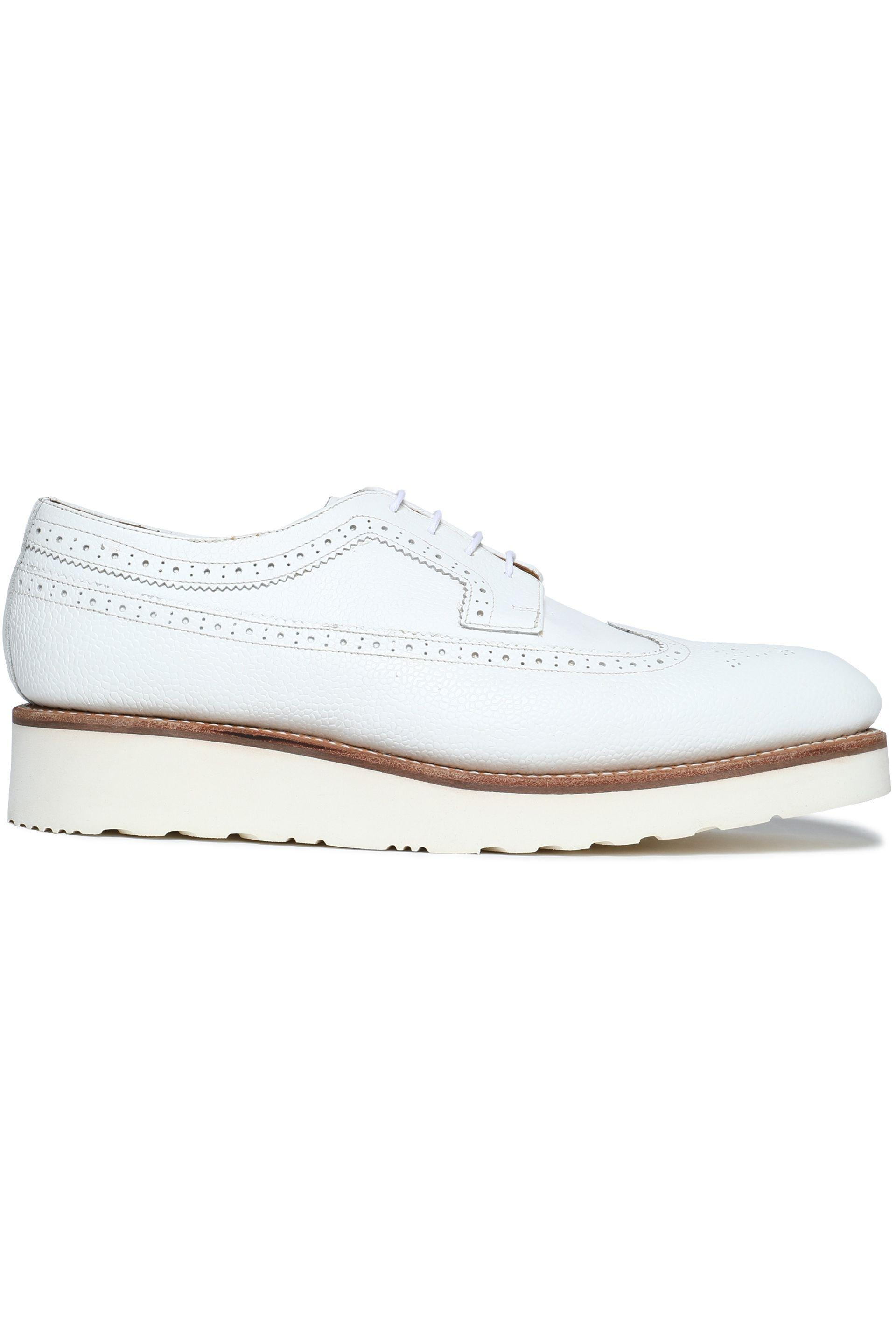 f92d339f8a8 Grenson Woman Perforated Leather Brogues White in White - Lyst